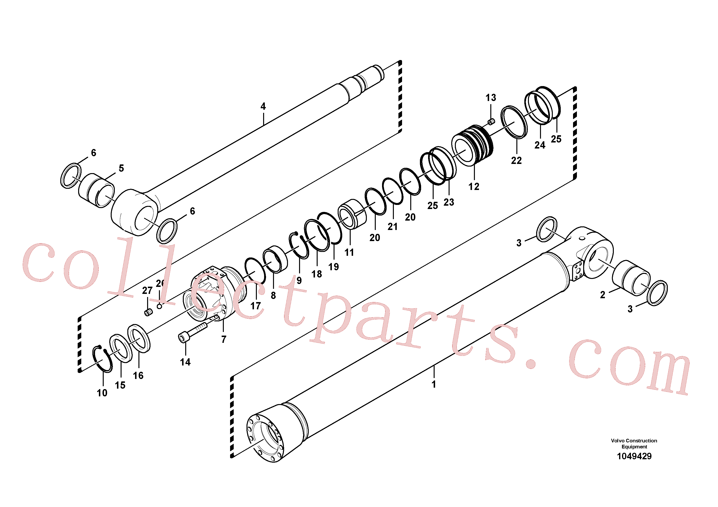 VOE14883743 for Volvo Bucket cylinder, Boom cylinder(1049429 assembly)