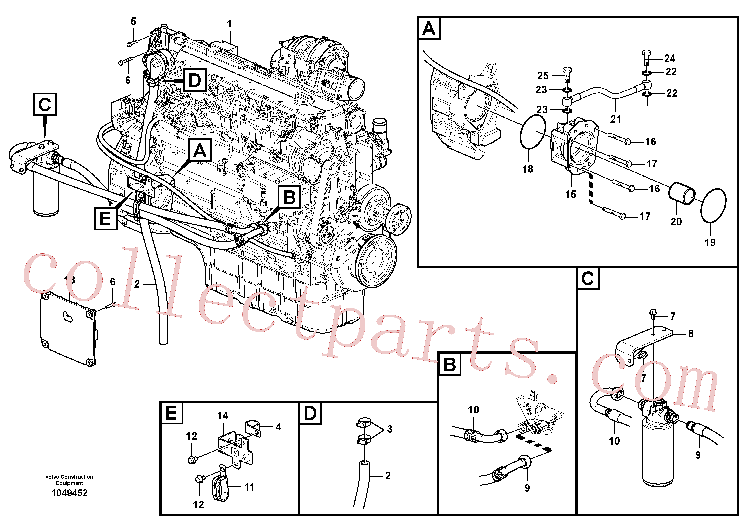 VOE20459170 for Volvo Engine, Engine with fitting parts(1049452 assembly)