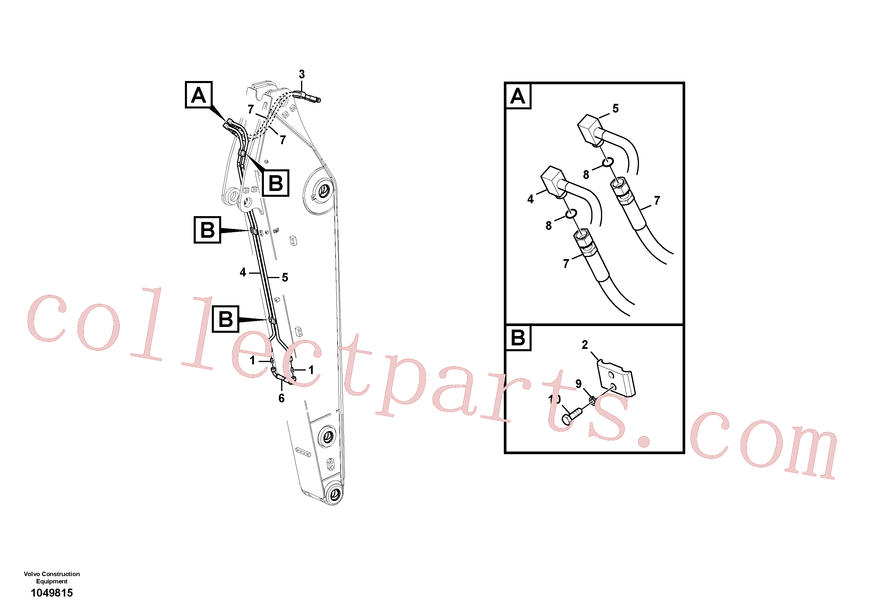 VOE14880855 for Volvo Working hydraulic, slope and rotator on dipper arm(1049815 assembly)