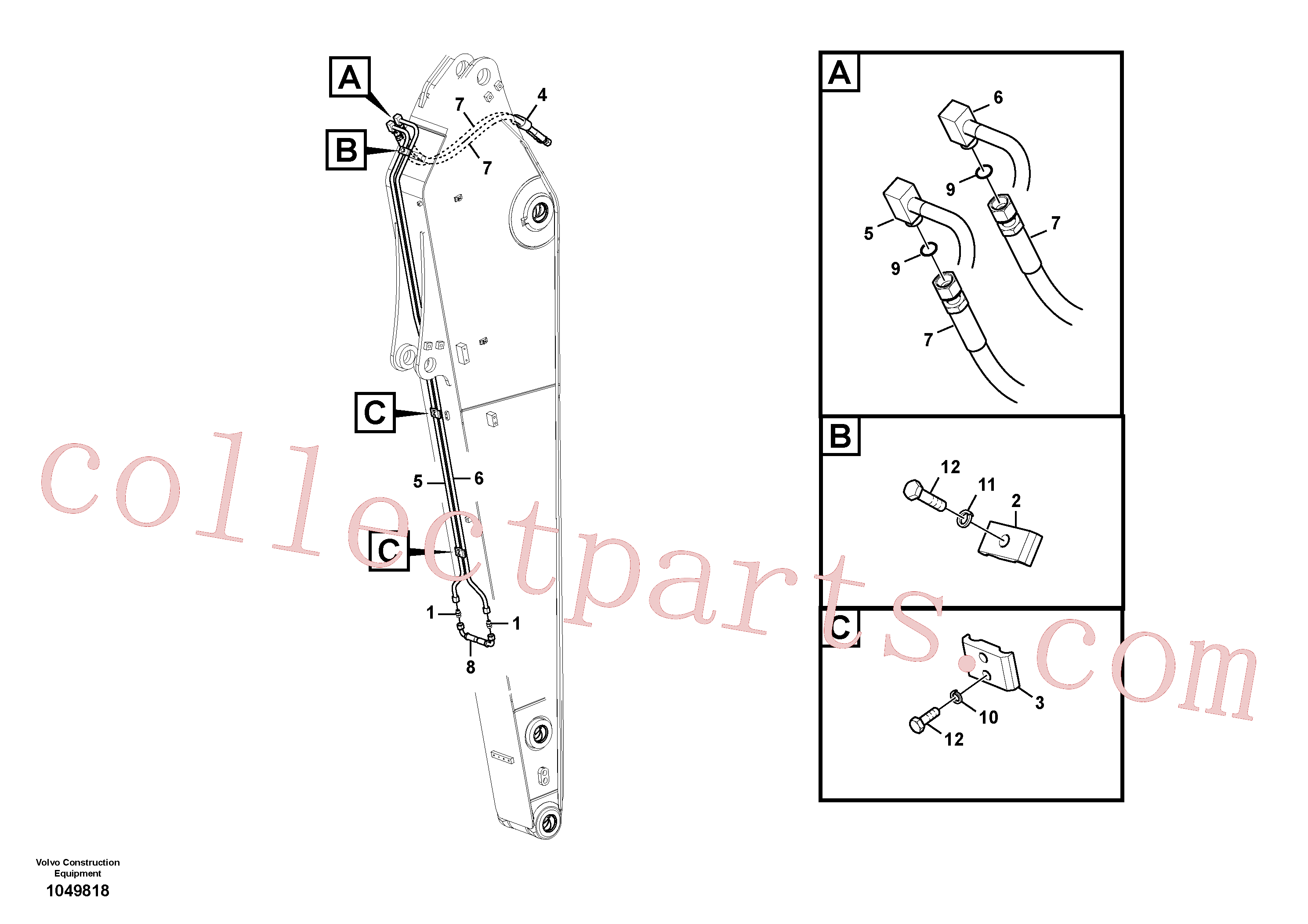 VOE14881202 for Volvo Working hydraulic, slope and rotator on dipper arm(1049818 assembly)
