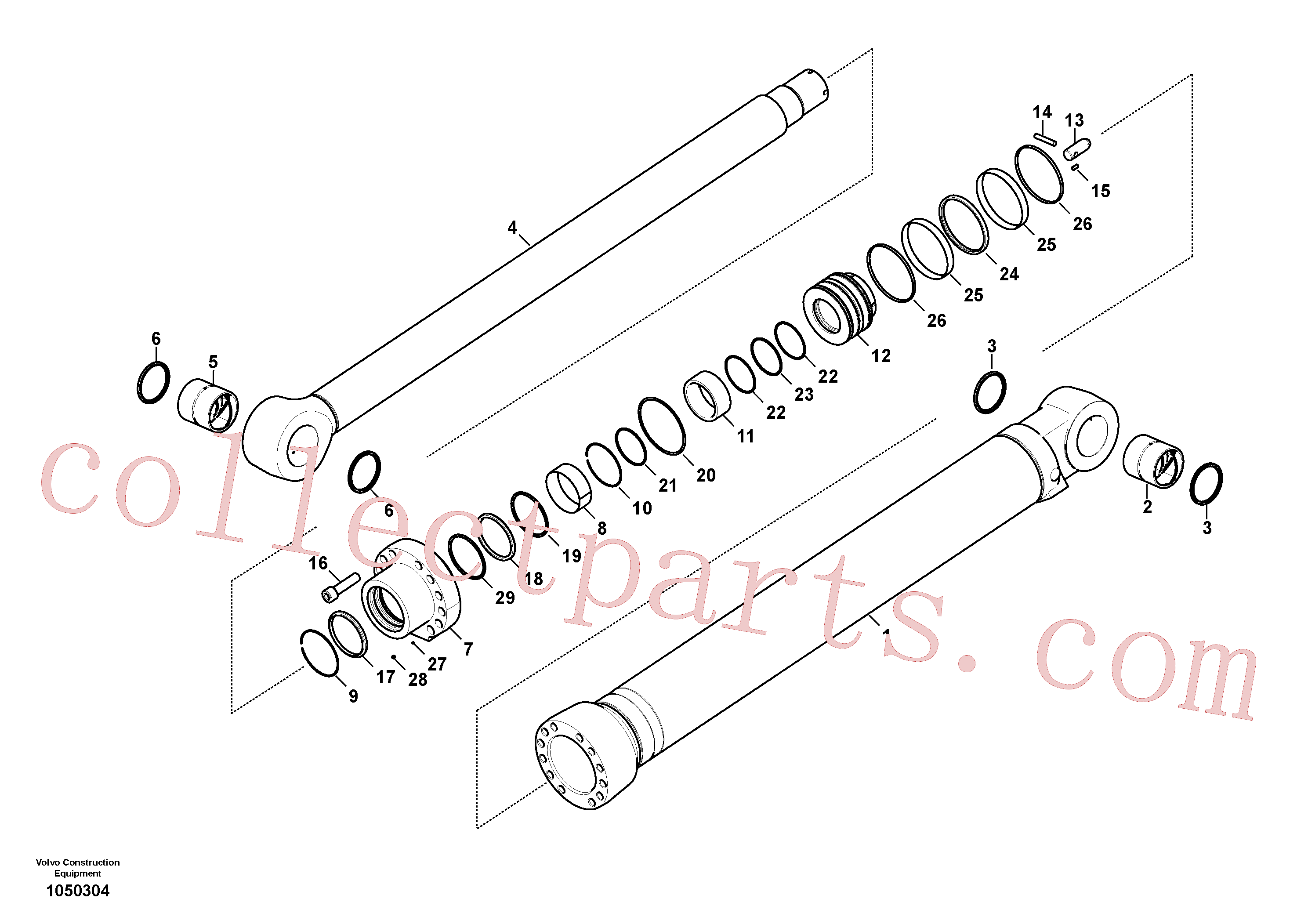 VOE14597317 for Volvo Dipper arm cylinder(1050304 assembly)