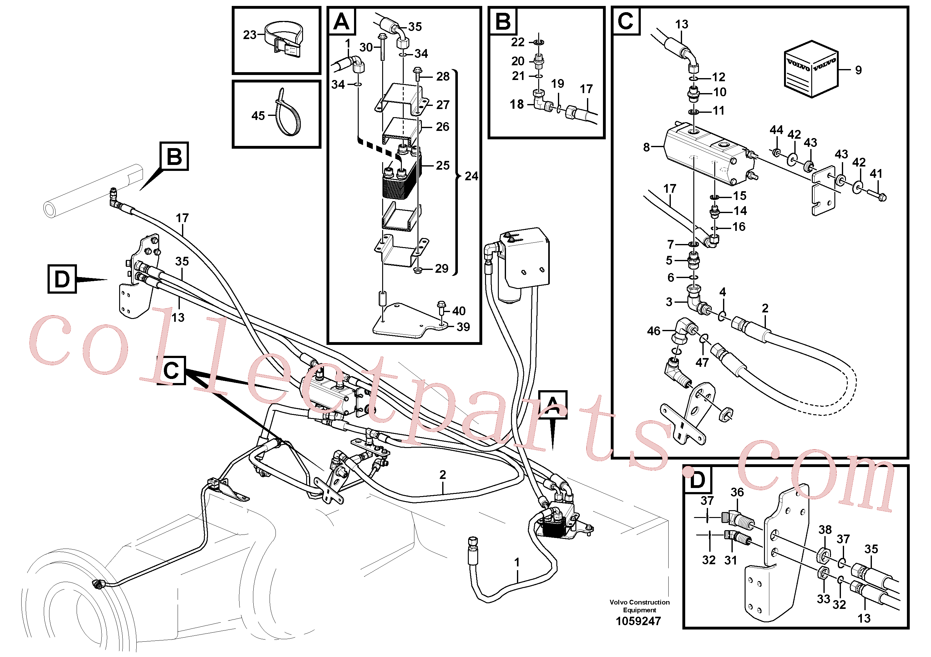 VOE13933962 for Volvo Oil cooler, rear, motor circuit.(1059247 assembly)