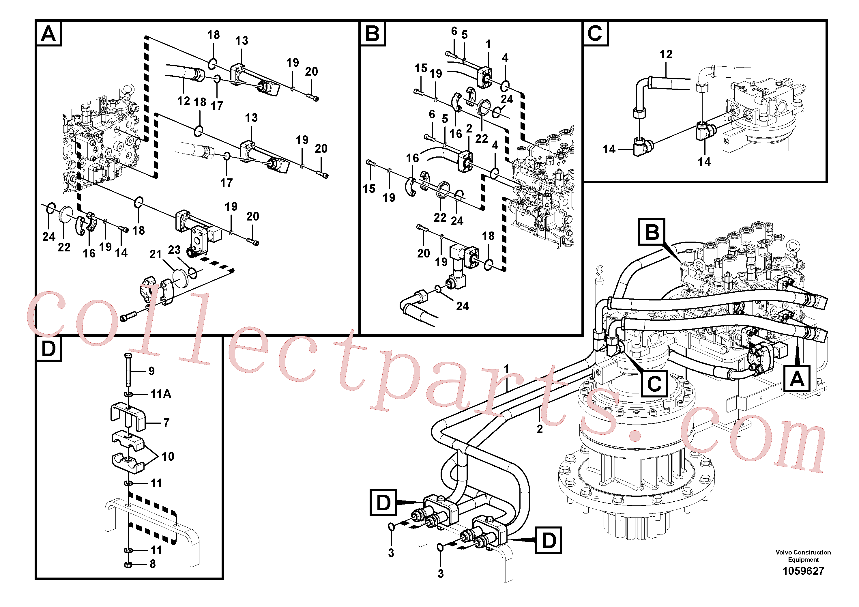 VOE14561503 for Volvo Hydraulic system, control valve to boom and swing(1059627 assembly)
