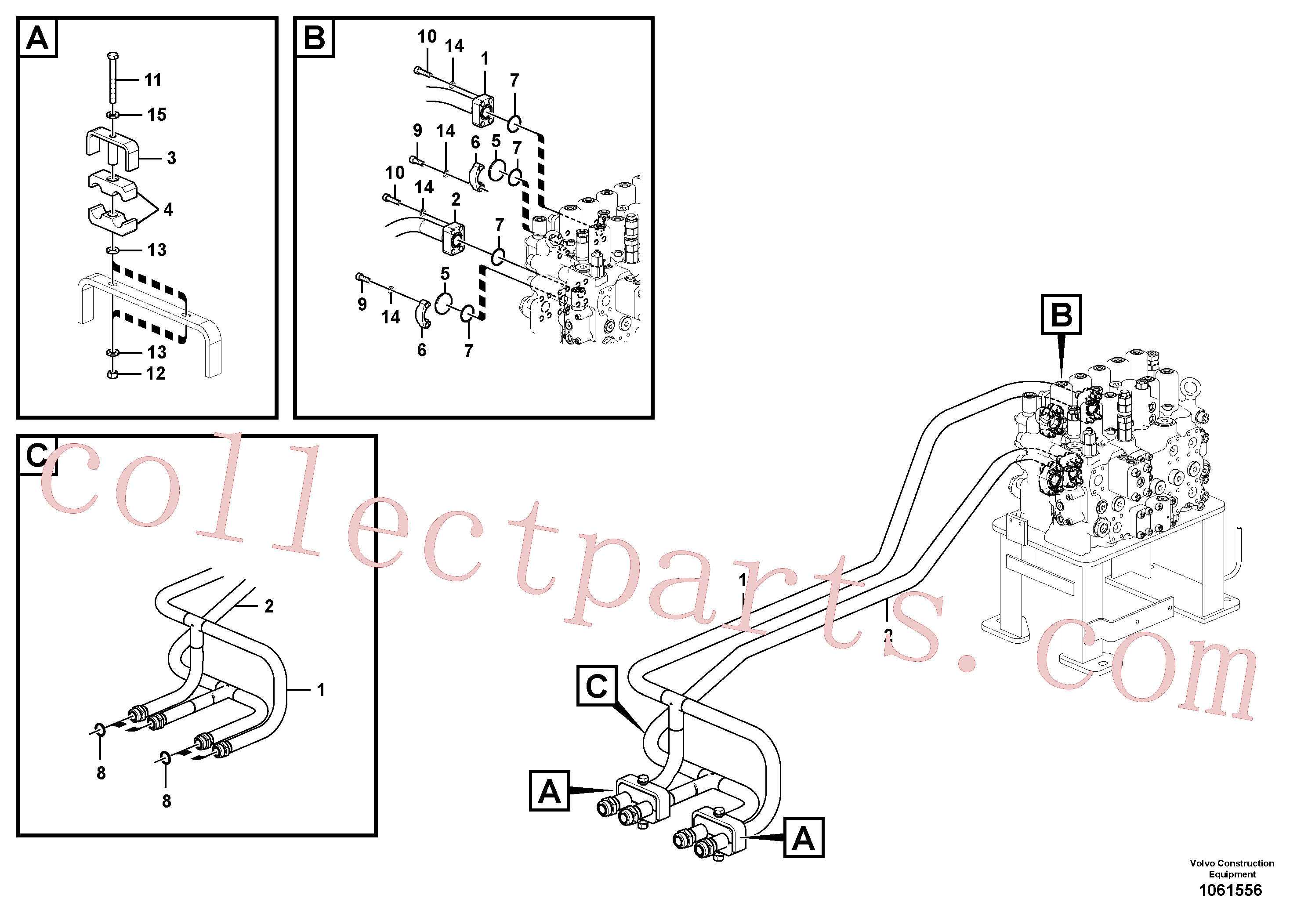 VOE979020 for Volvo Hydraulic system, control valve to boom and swing(1061556 assembly)