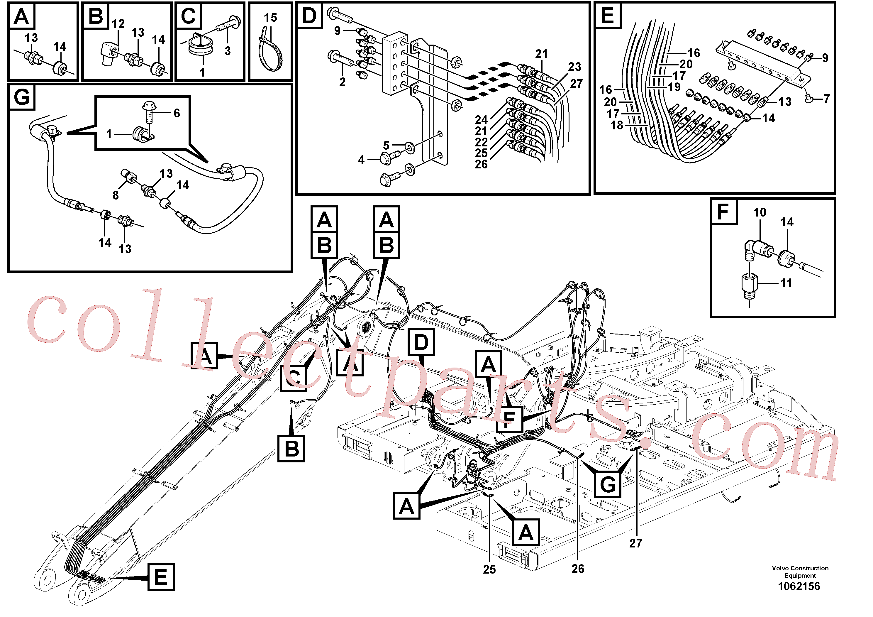 VOE14388450 for Volvo Grease Piping(1062156 assembly)