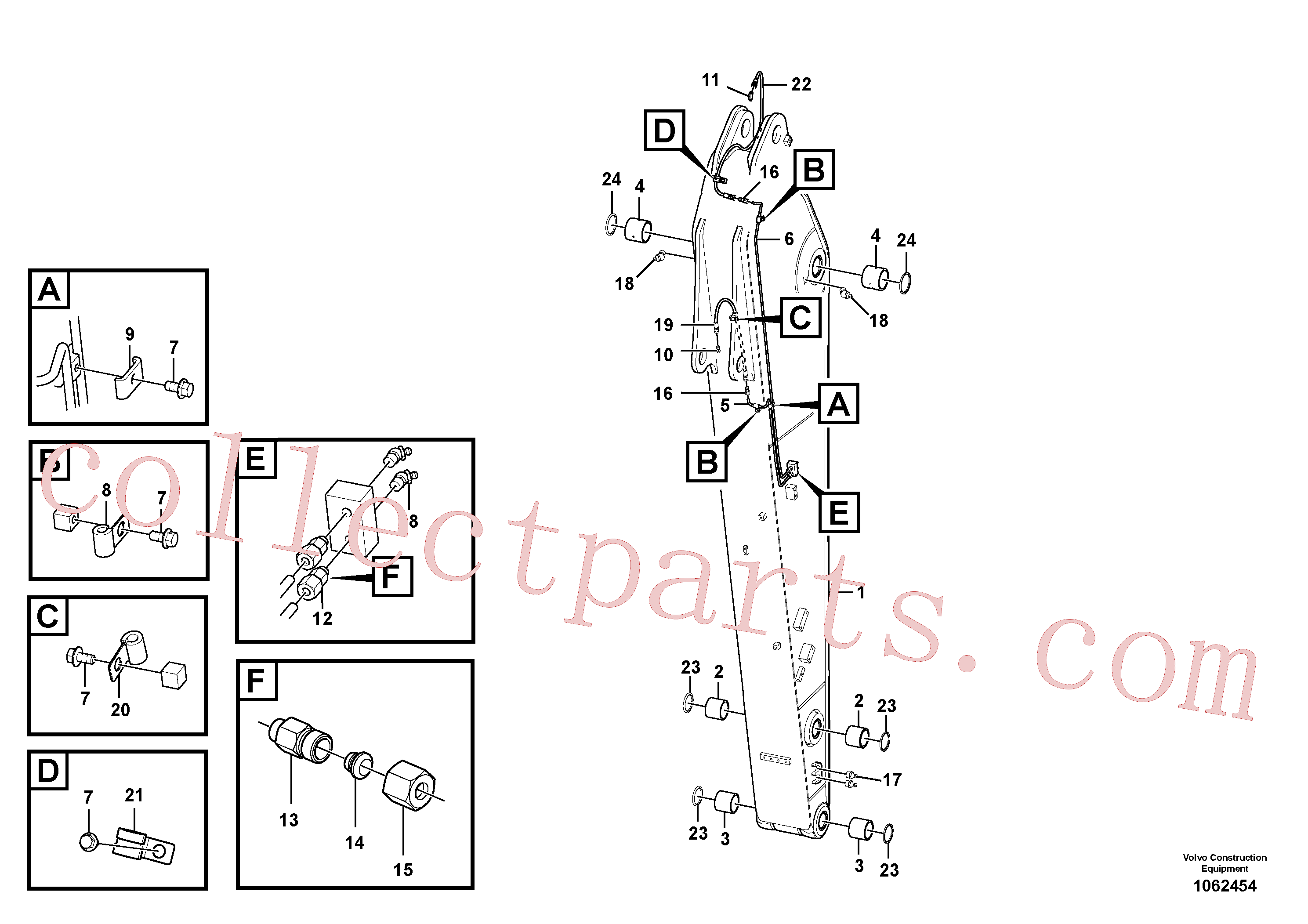 VOE14548168 for Volvo Dipper arm and grease piping with piping seat(1062454 assembly)