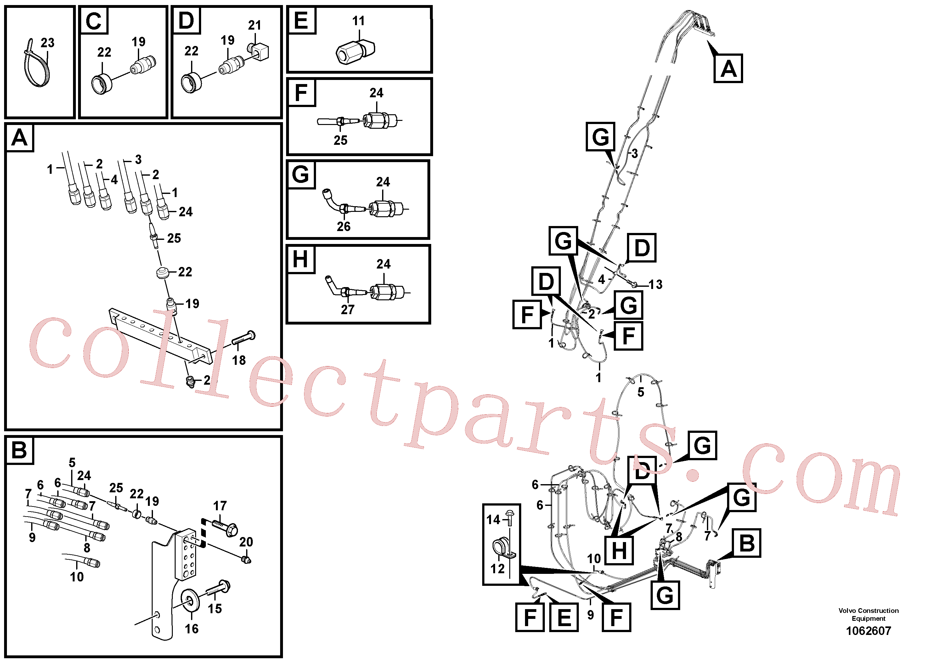 VOE14388450 for Volvo Boom and grease piping(1062607 assembly)
