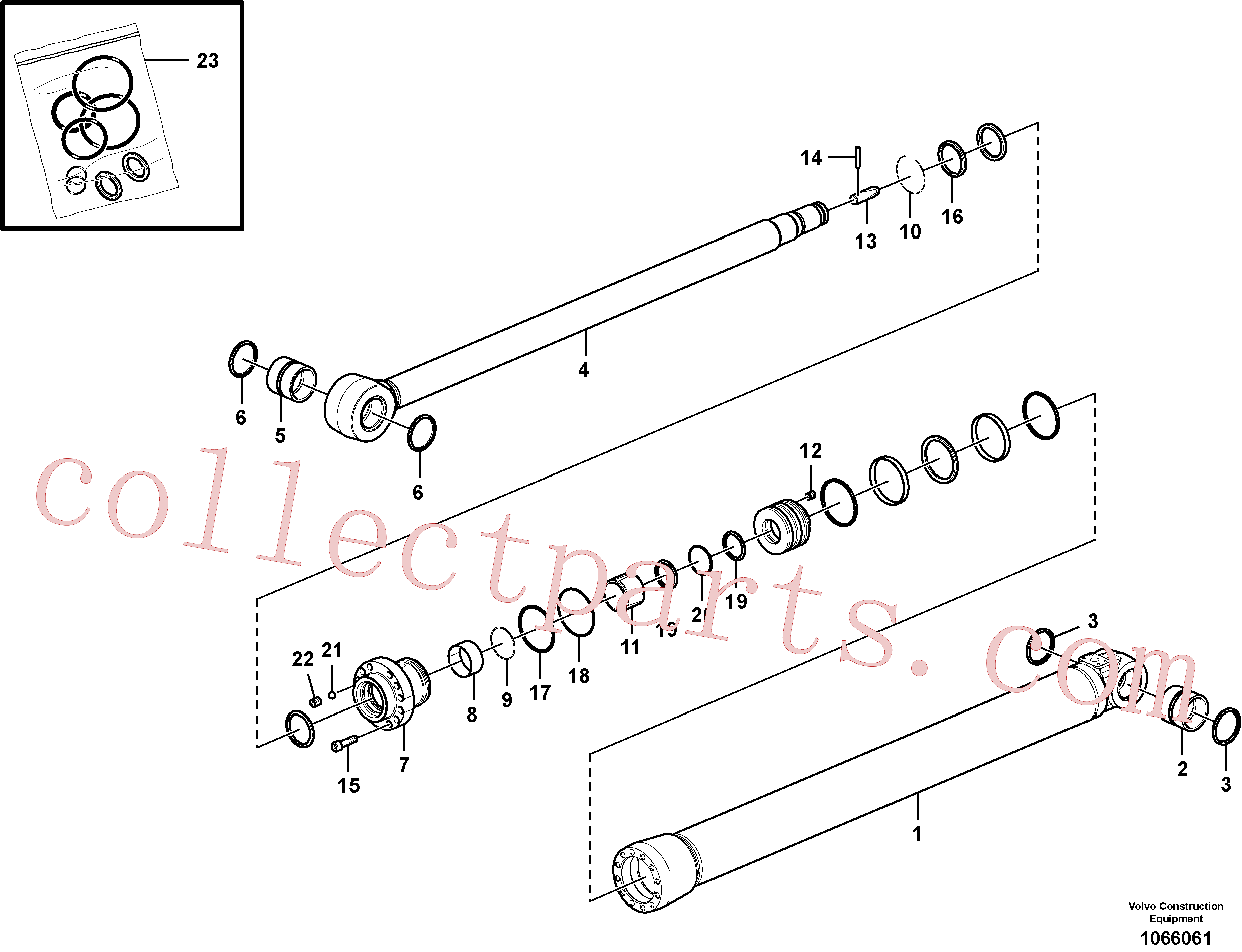 VOE14588665 for Volvo Dipper arm cylinder(1066061 assembly)