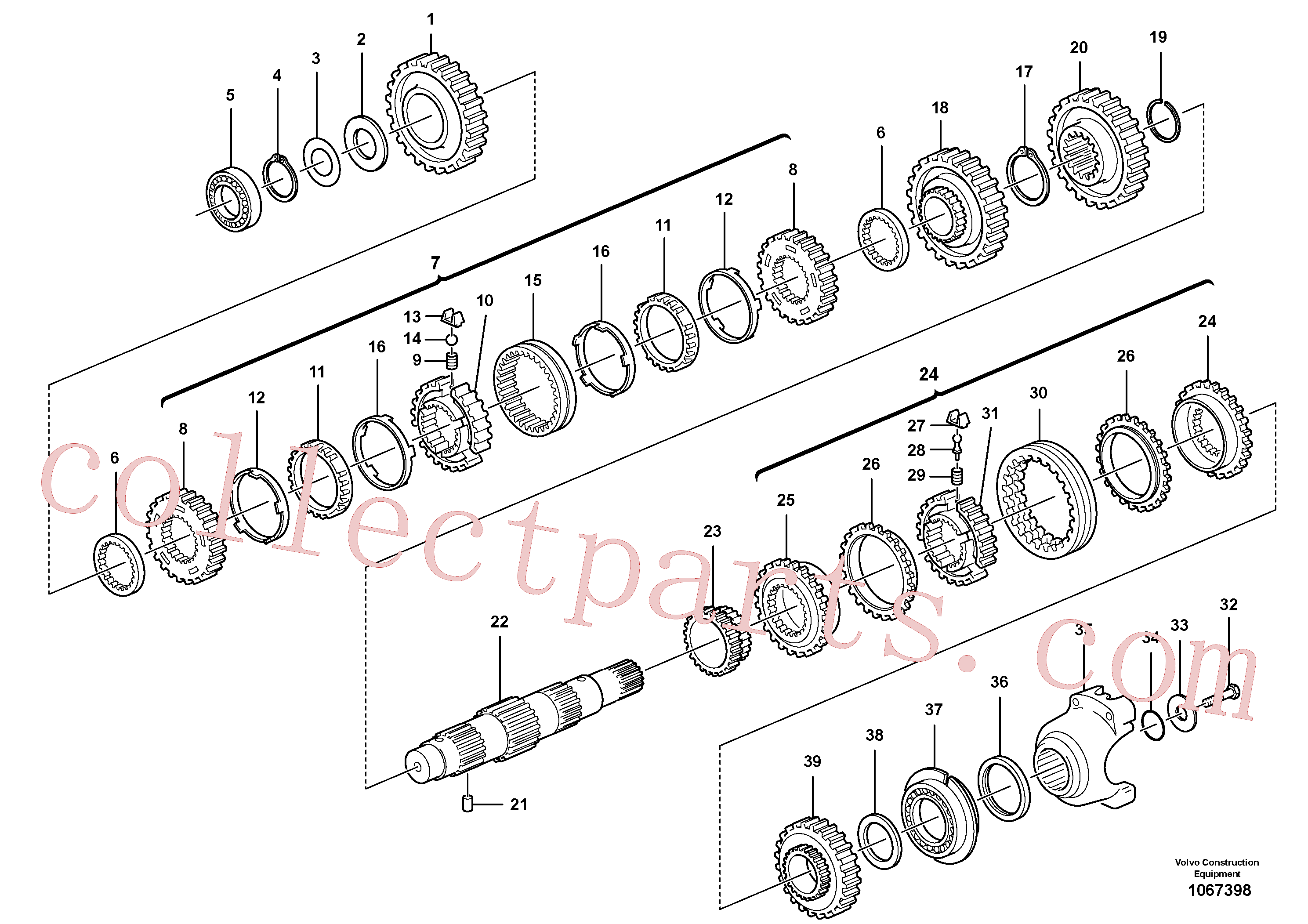 VOE11716666 for Volvo Secondary shaft(1067398 assembly)