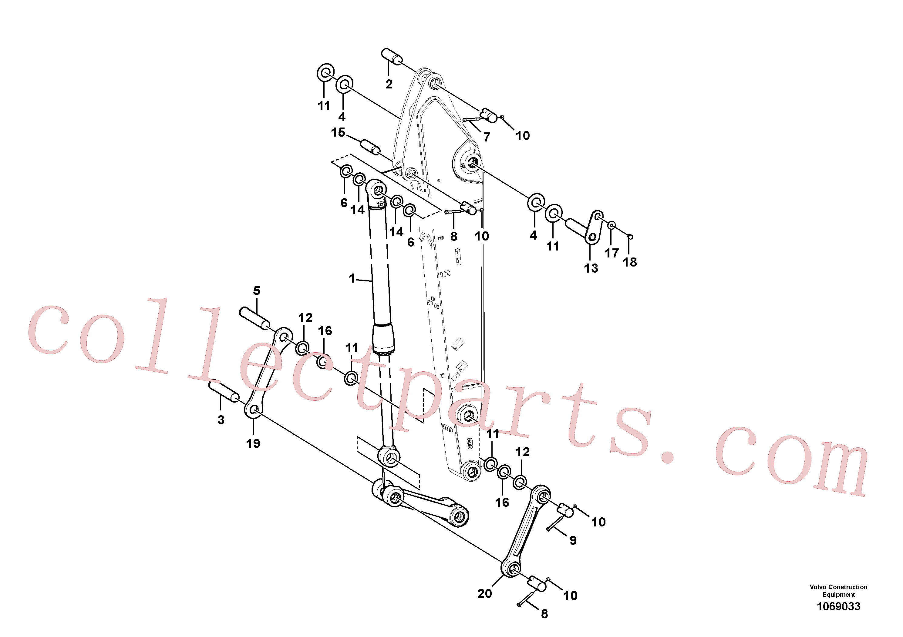 VOE14630955 for Volvo Links to dipper arm(1069033 assembly)