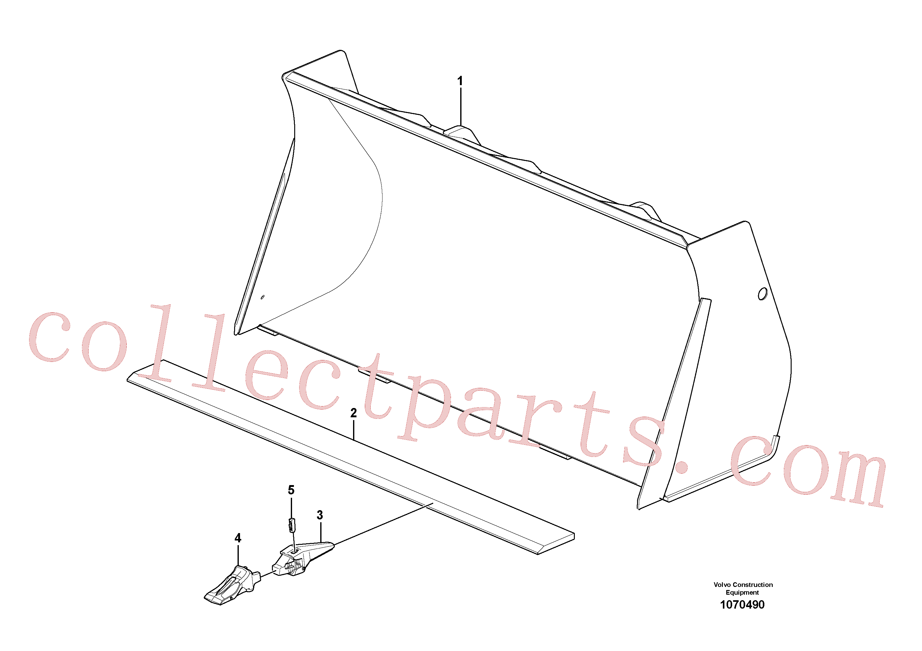 VOE15624171 for Volvo Bucket, straight with teeth(1070490 assembly)