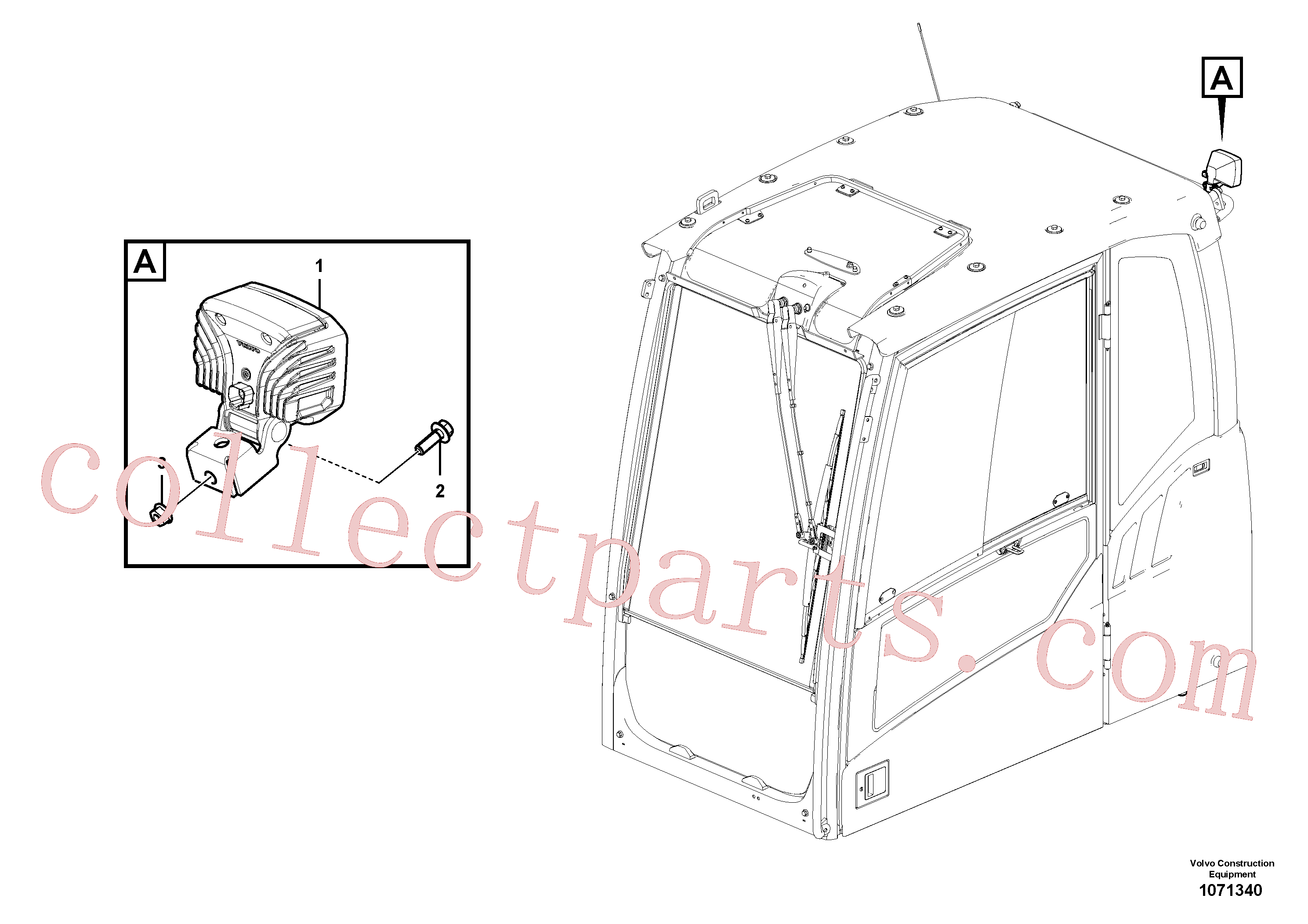 VOE13945444 for Volvo Work lights, extra(1071340 assembly)