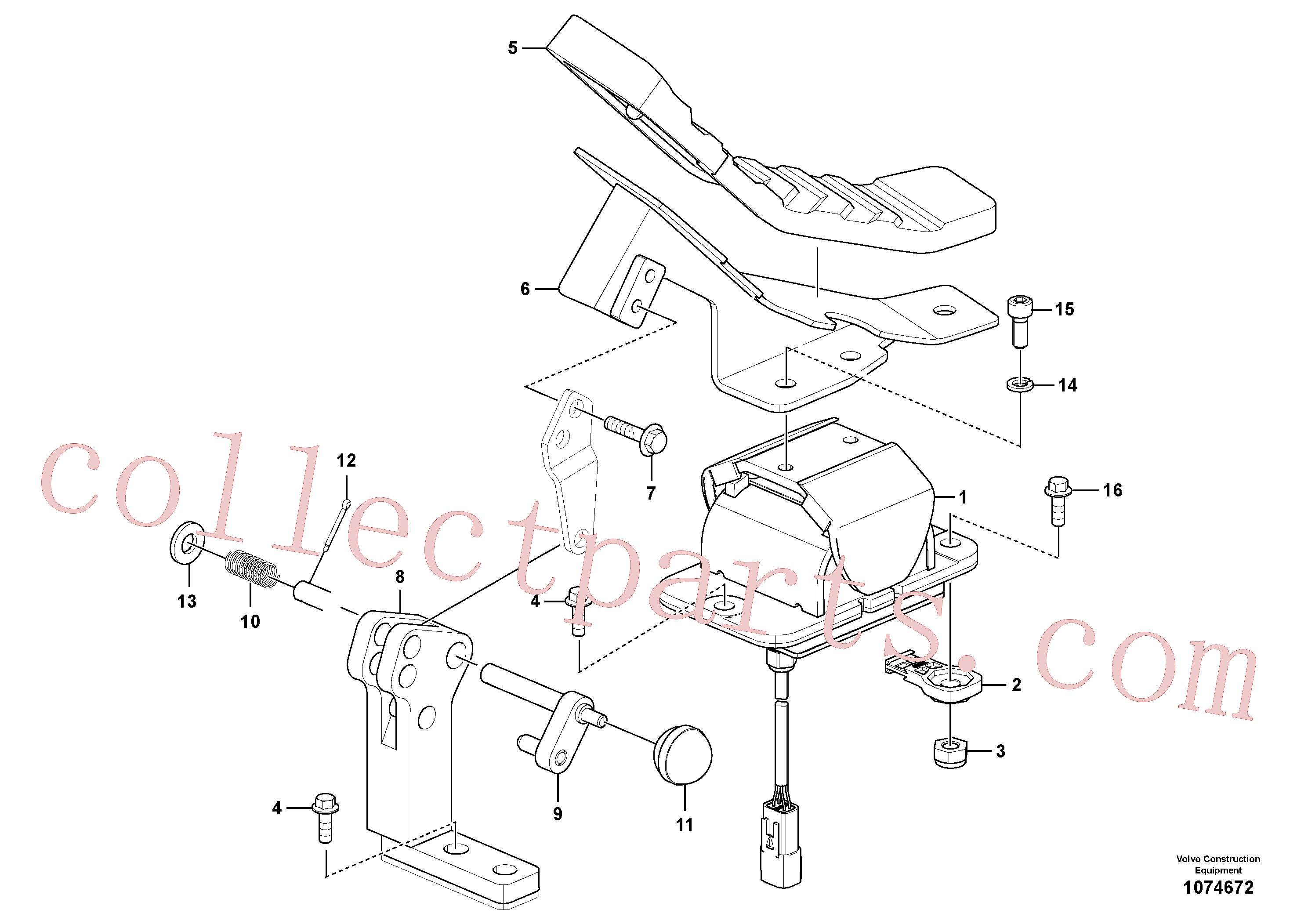 VOE14708679 for Volvo Working hydraulic, remote control valve pedal for hammer and shear(1074672 assembly)
