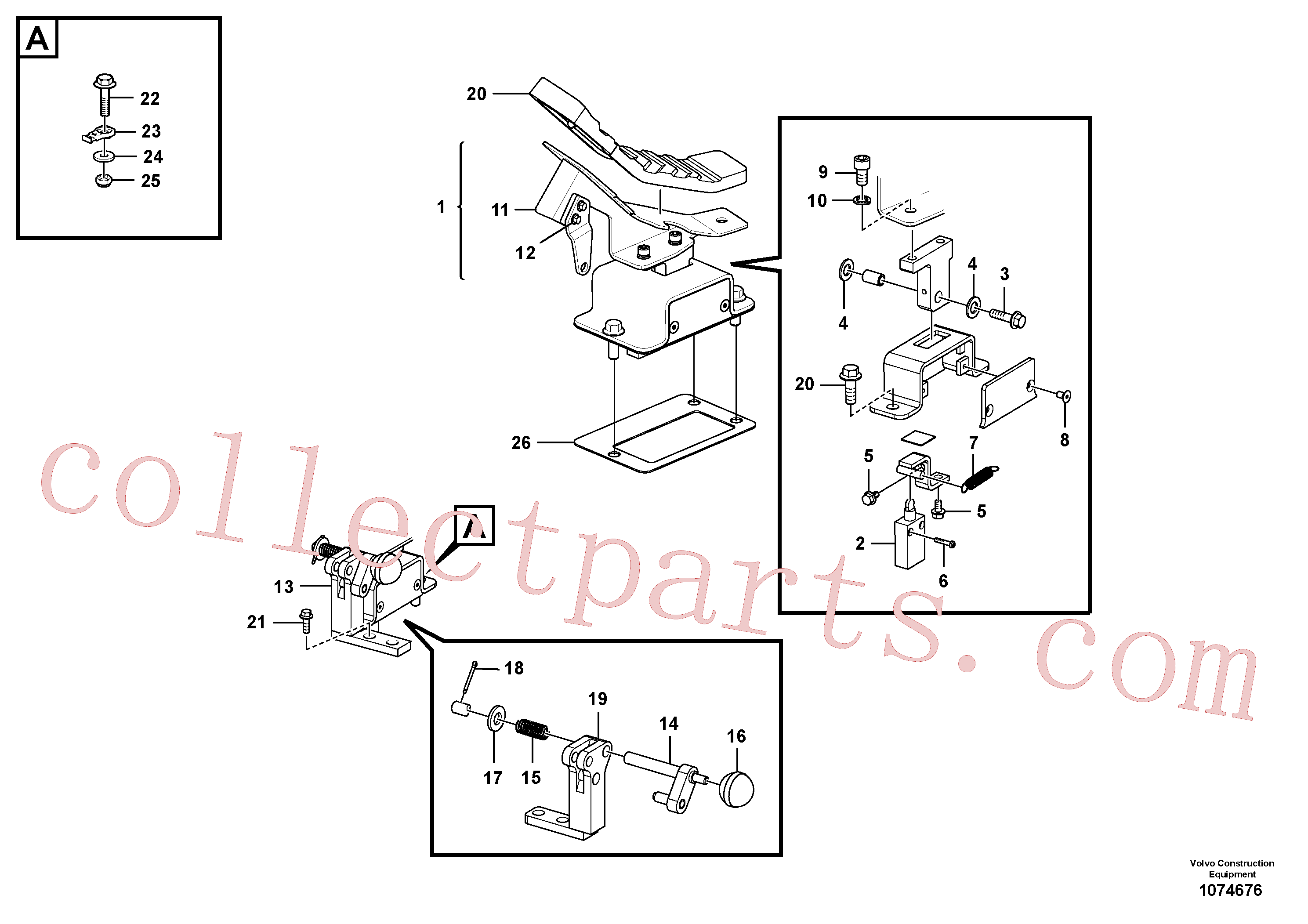 VOE14708679 for Volvo Working hydraulic, remote control valve pedal for hammer and shear(1074676 assembly)