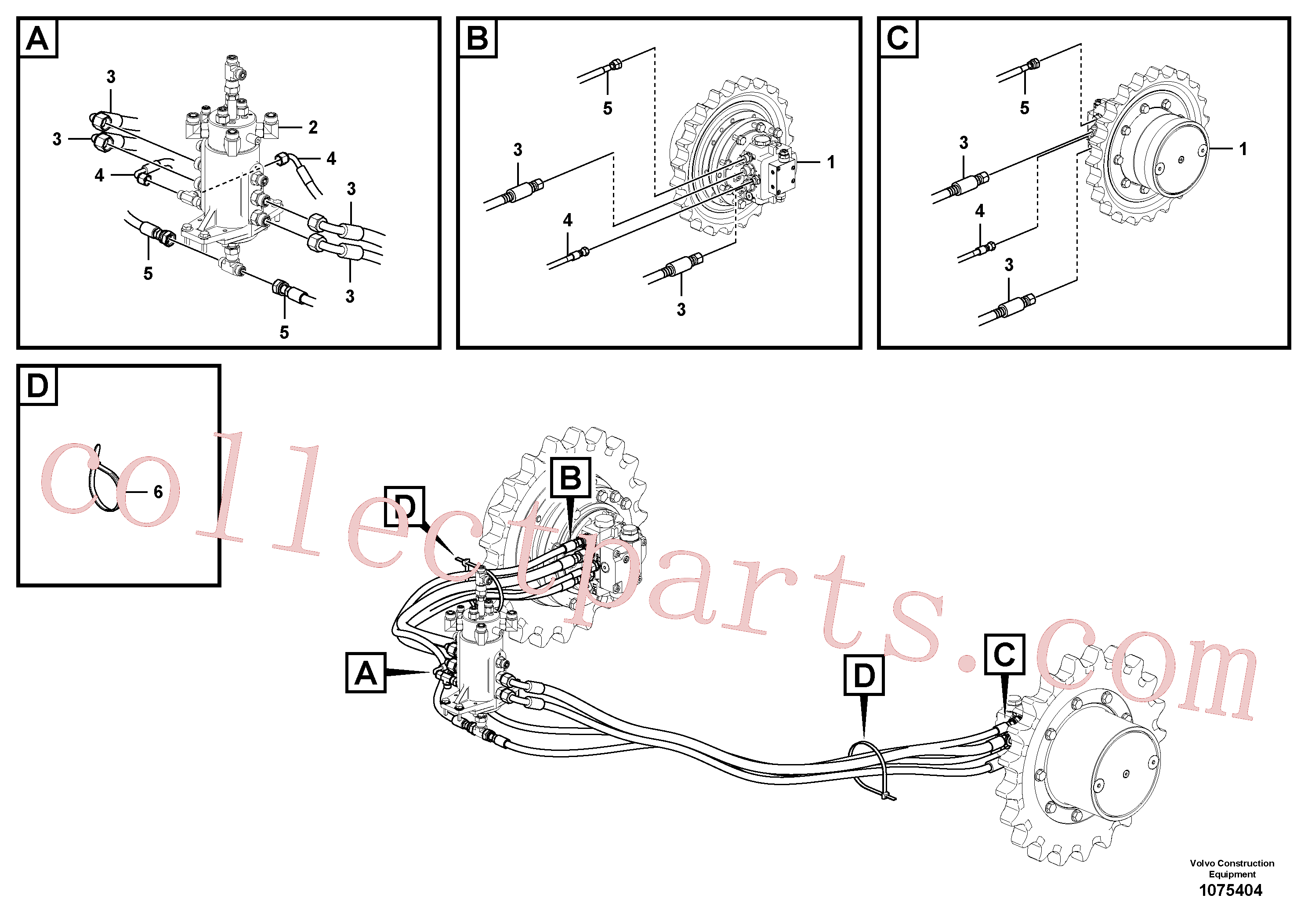 VOE15680068 for Volvo Hydraulic circuit ( lower frame )(1075404 assembly)