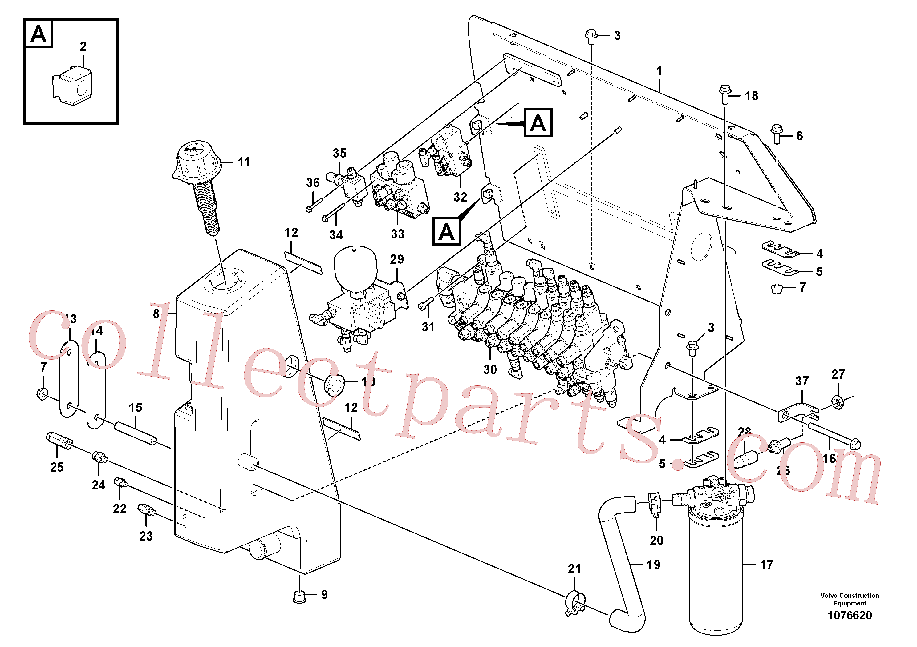 VOE11802432 for Volvo Hydraulic tank(1076620 assembly)