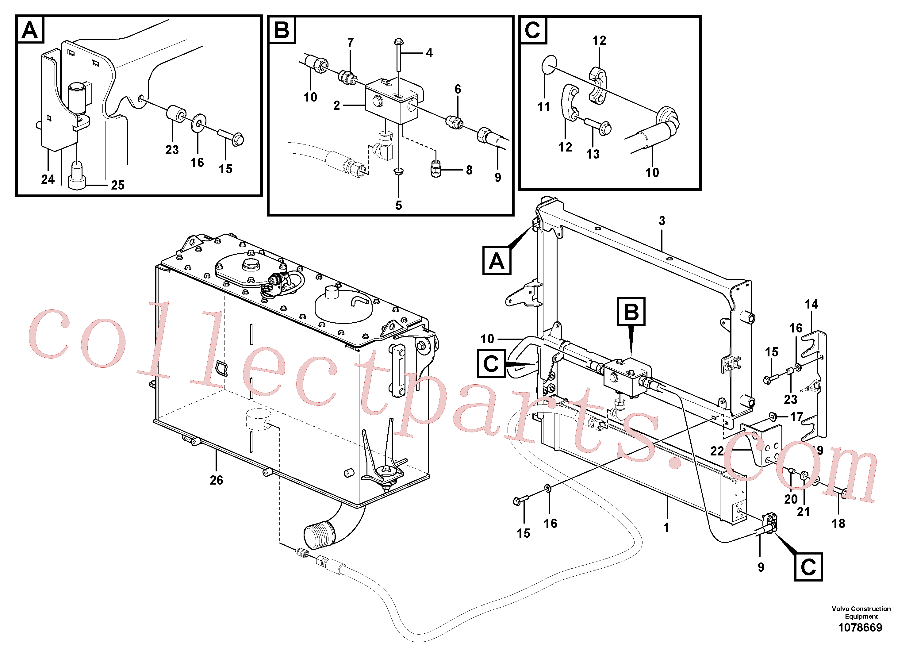 VOE16805575 for Volvo Oil cooler with hoses(1078669 assembly)