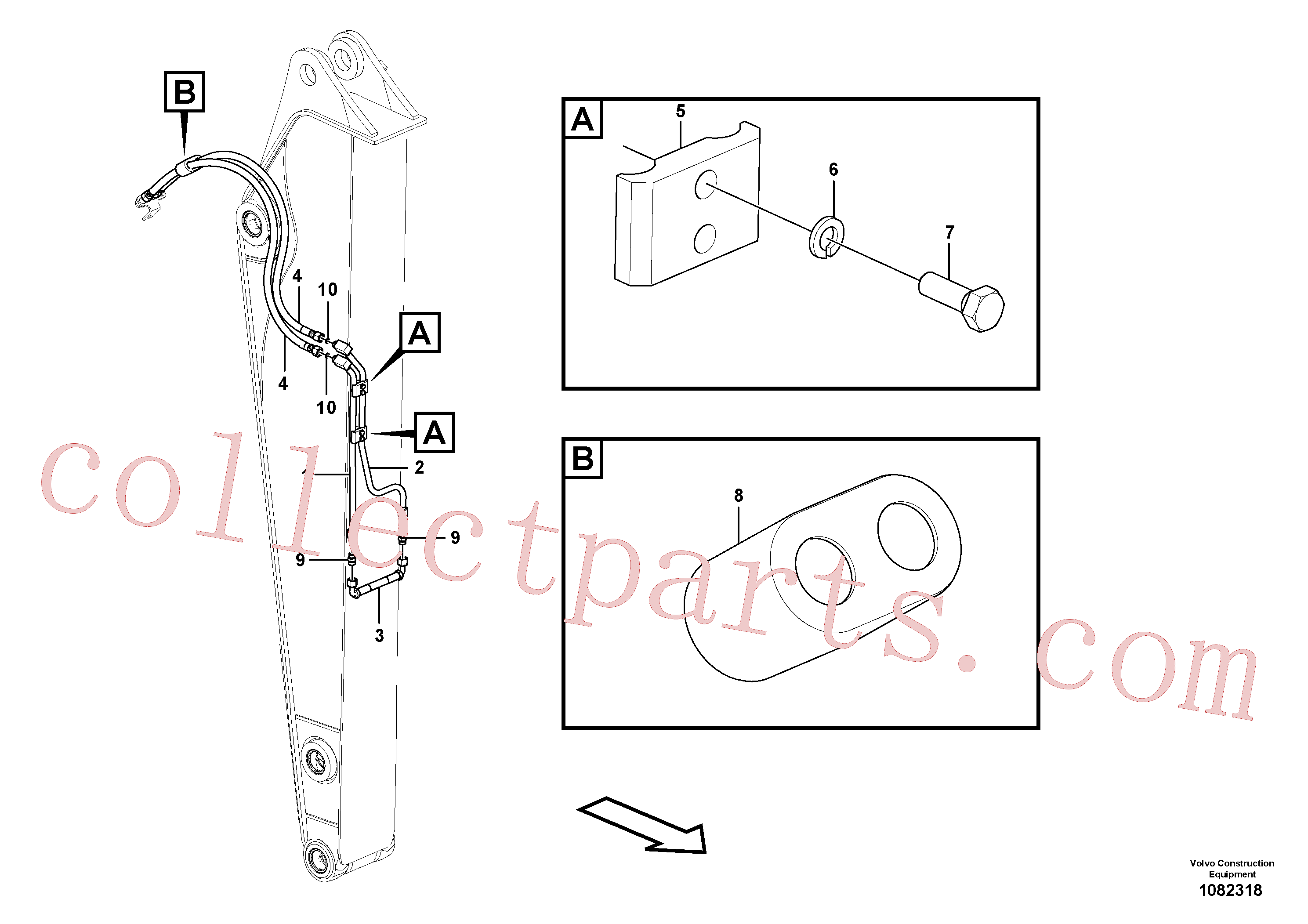 VOE14677550 for Volvo Working hydraulic, slope and rotator on dipper arm(1082318 assembly)