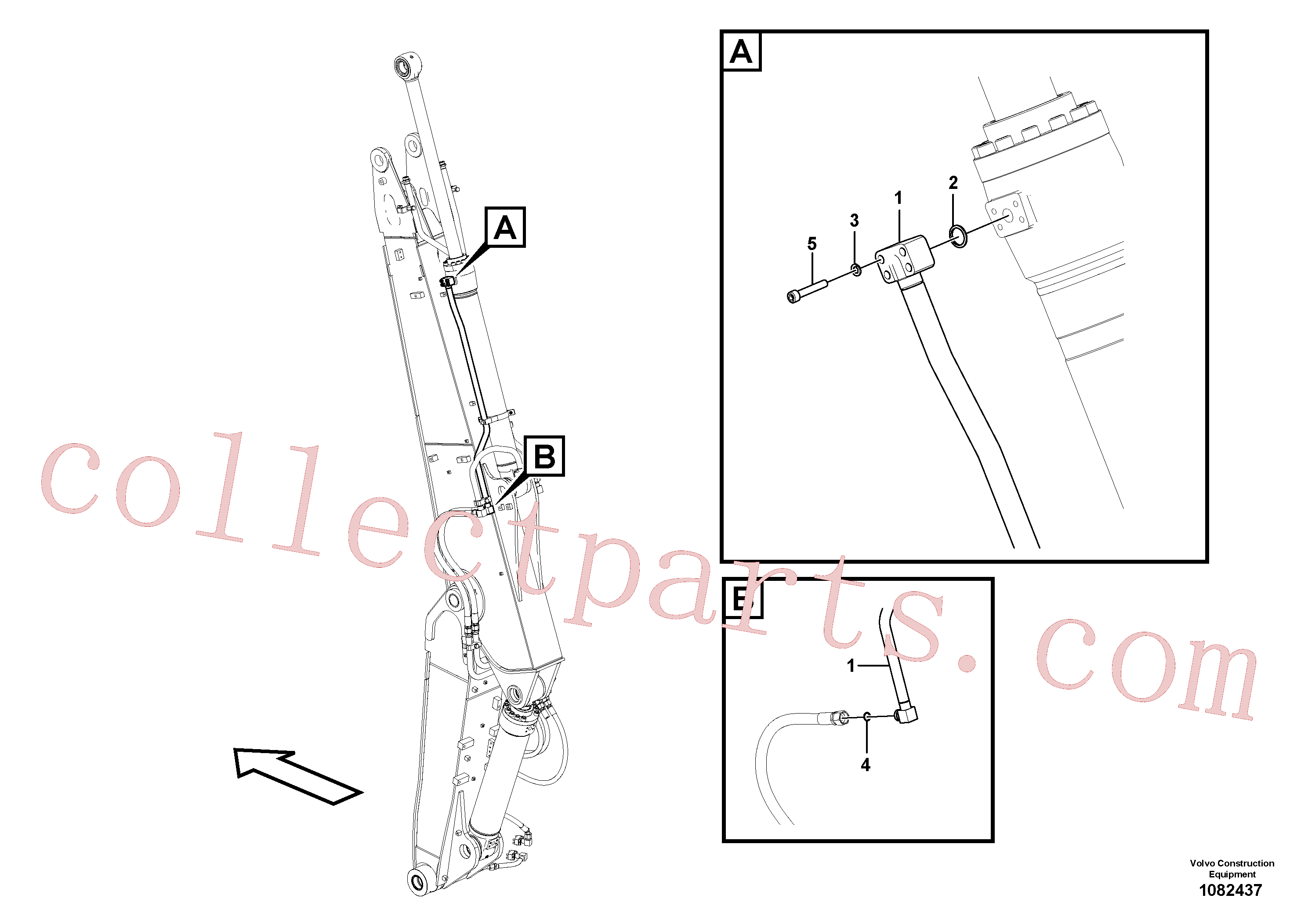 VOE14535178 for Volvo Working hydraulic, dipper arm cylinder on adjustable boom(1082437 assembly)