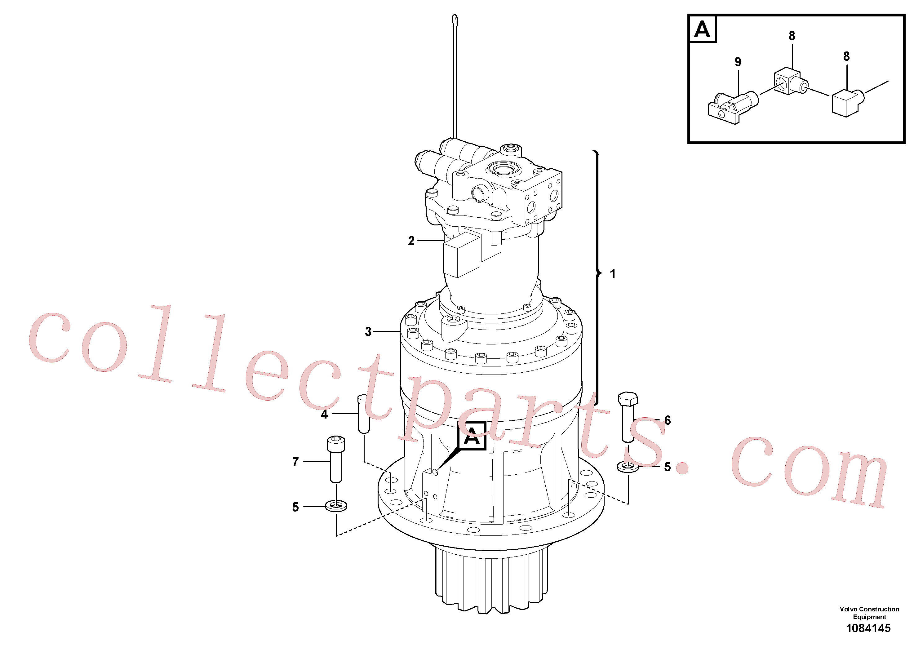 VOE60110301 for Volvo Swing motor with mounting parts(1084145 assembly)