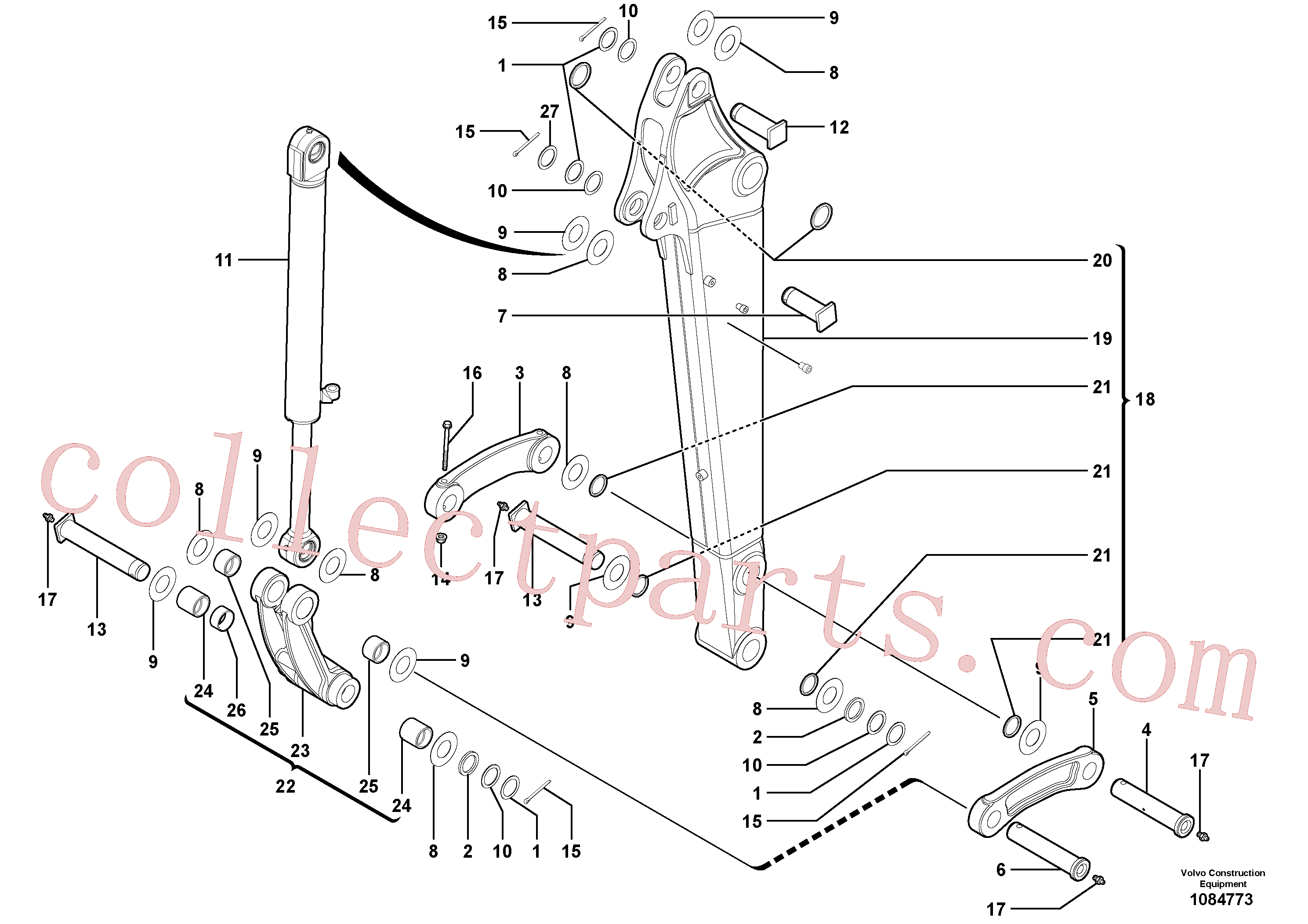 VOE11802266 for Volvo Dipper arm(1084773 assembly)