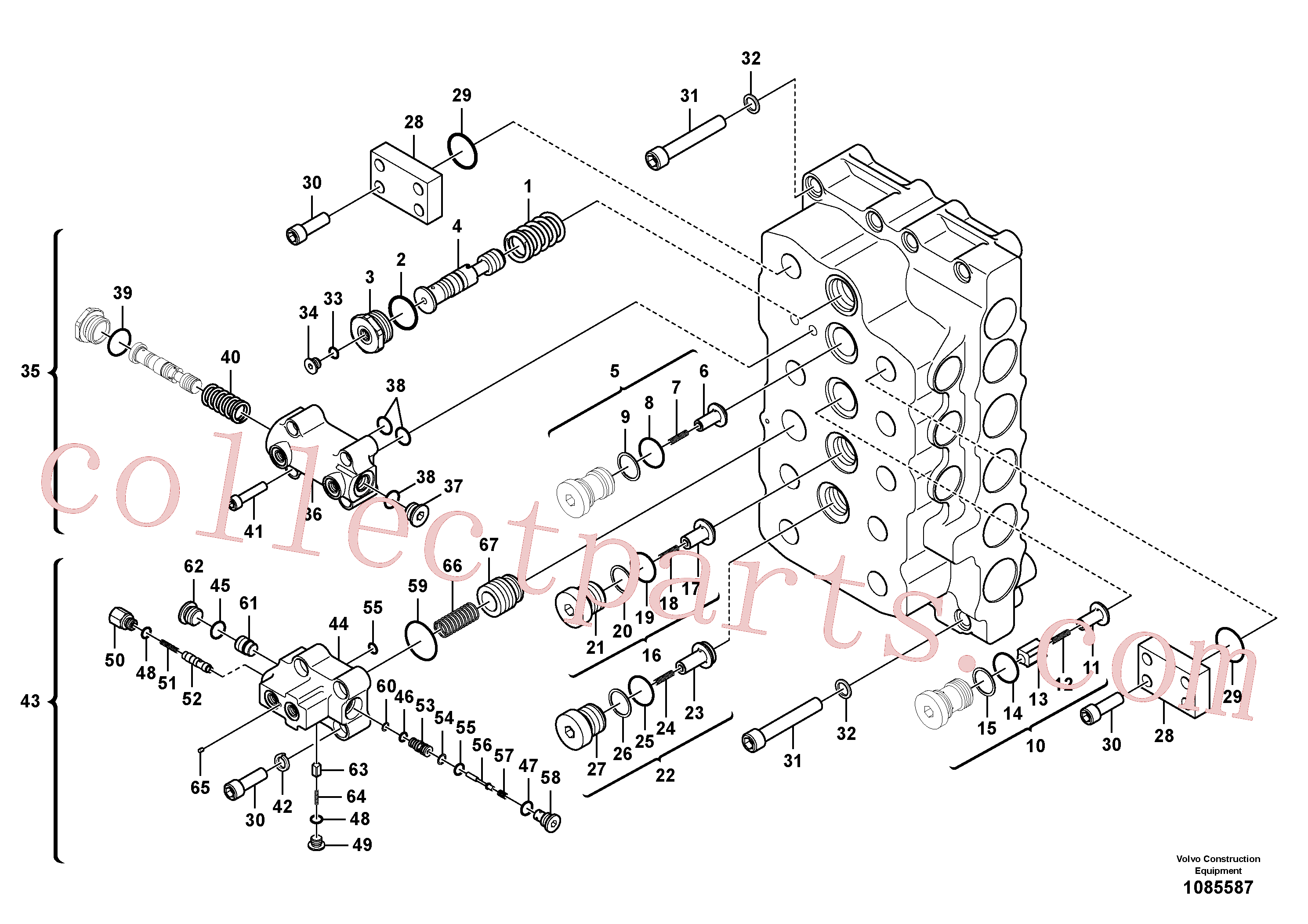 VOE983532 for Volvo Main control valve(1085587 assembly)
