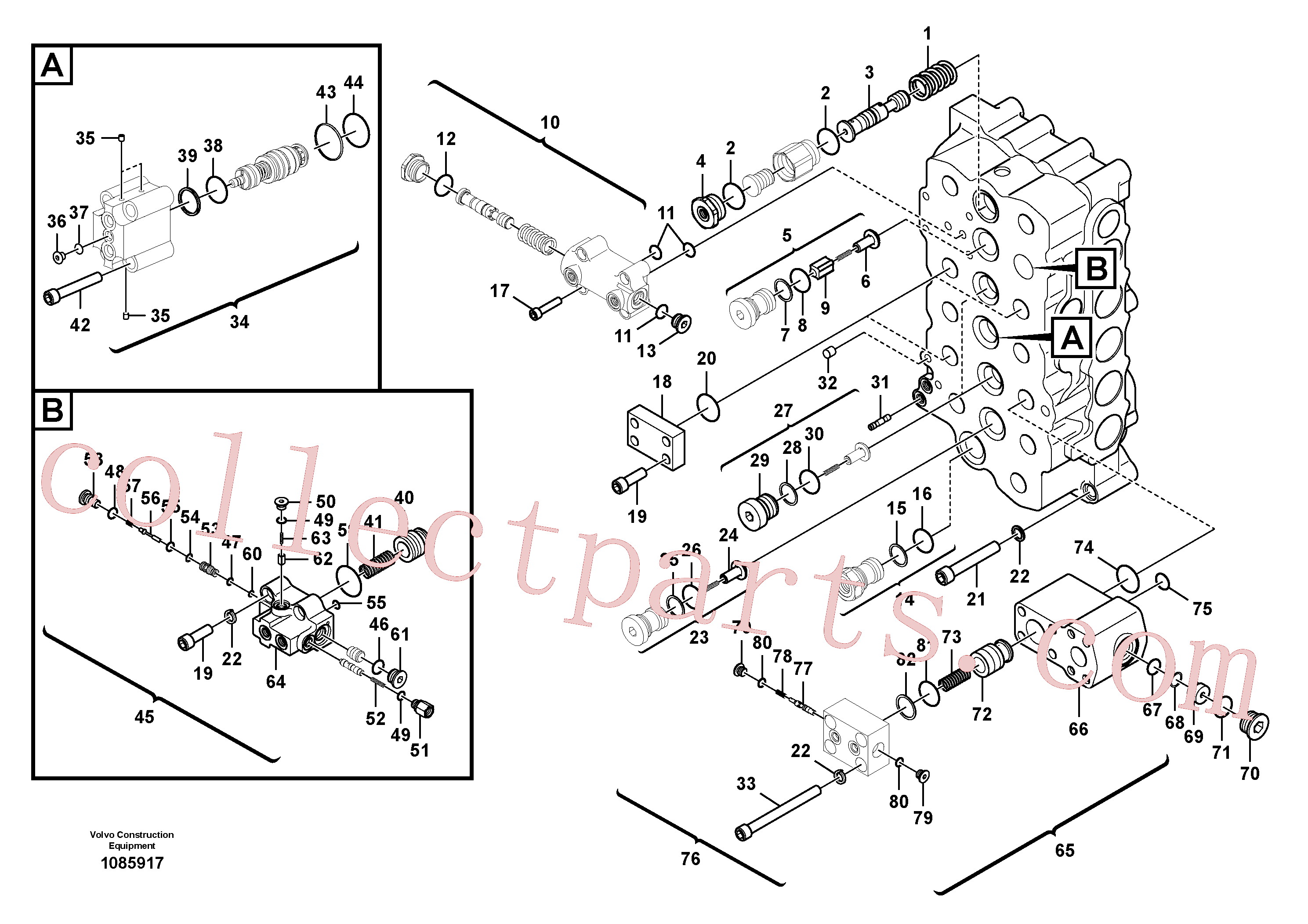 VOE983532 for Volvo Main control valve(1085917 assembly)