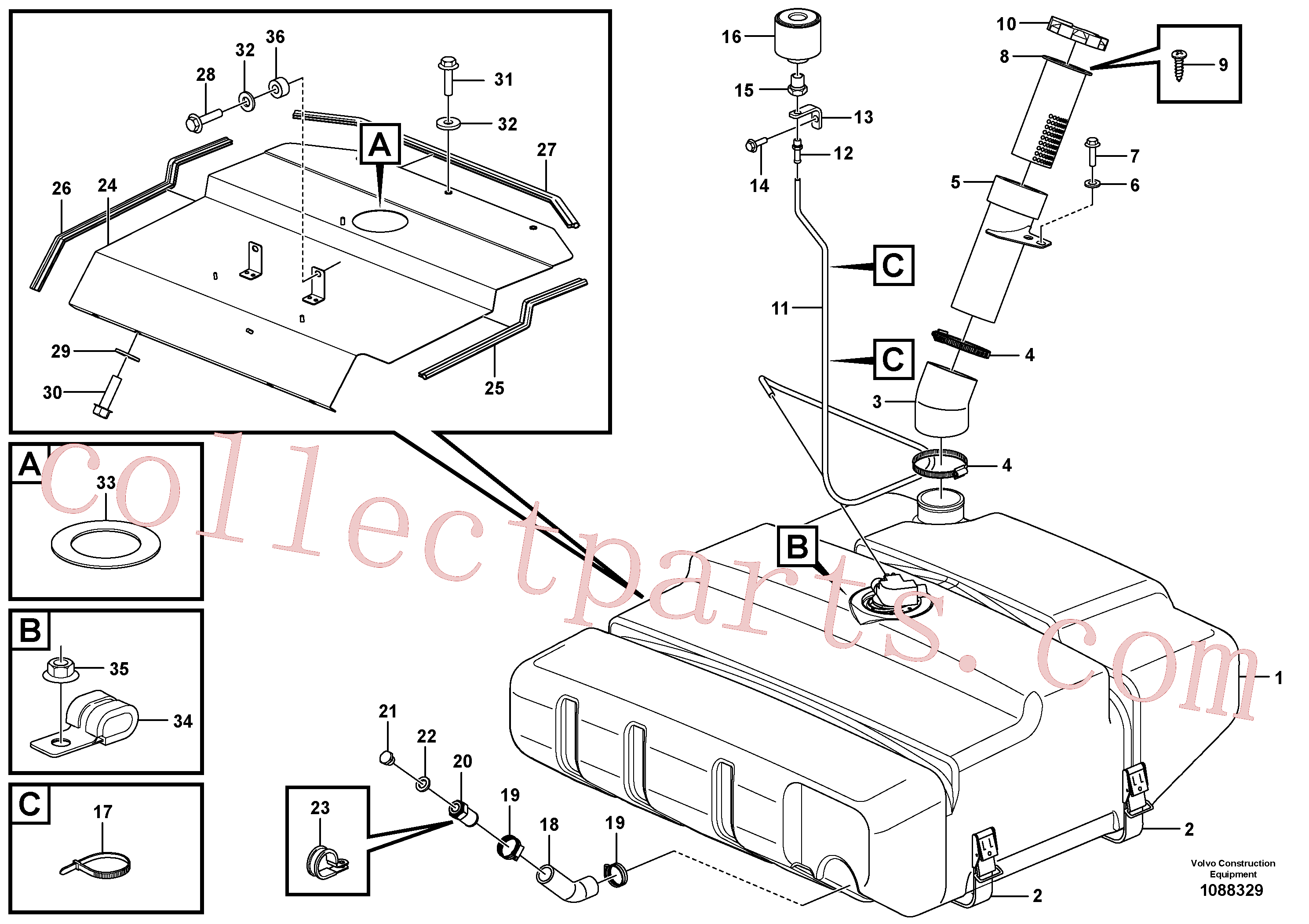 ZM2060786 for Volvo Fuel tank with fitting parts(1088329 assembly)