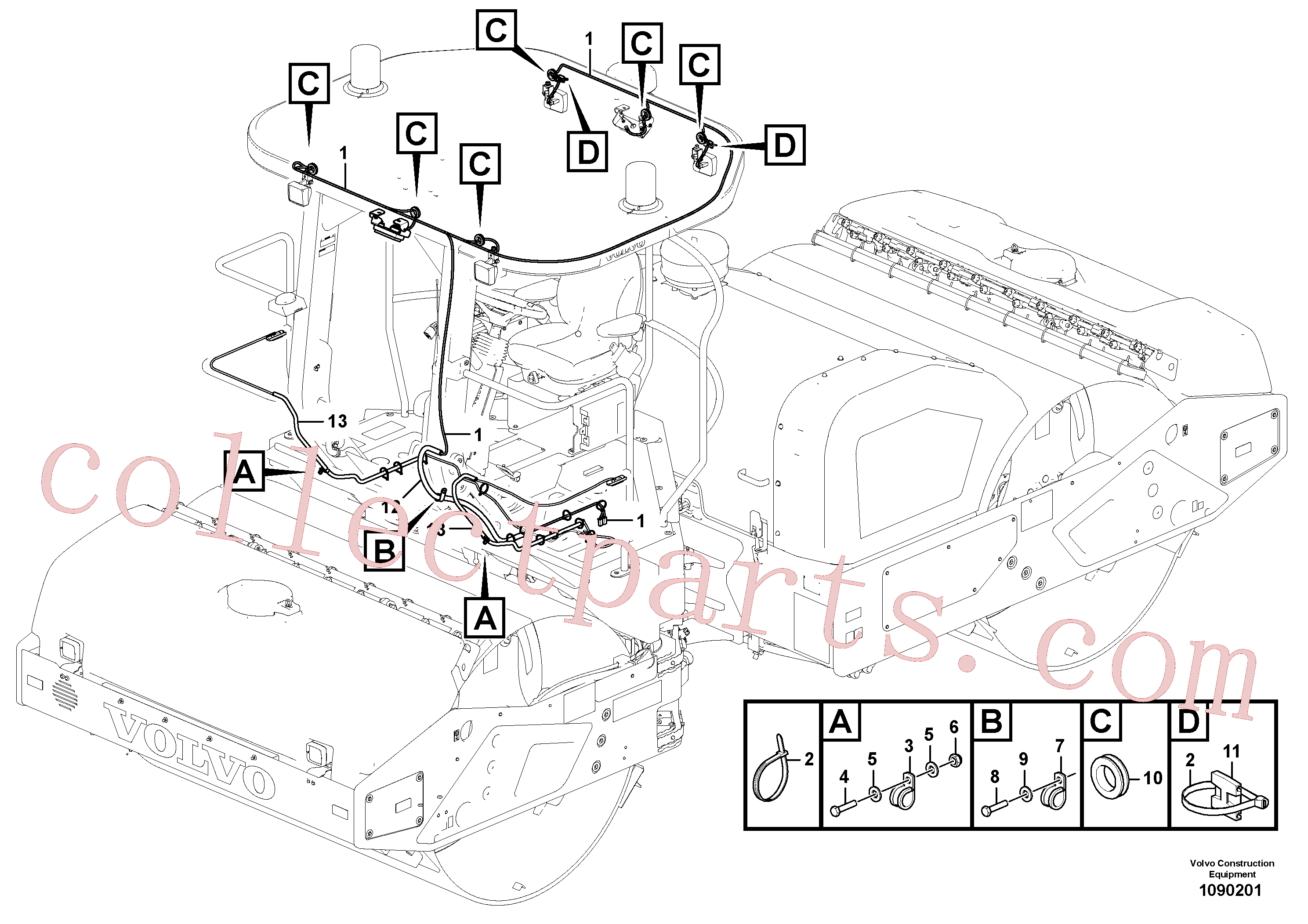 VOE17455311 for Volvo Cable harness, work lights(1090201 assembly)