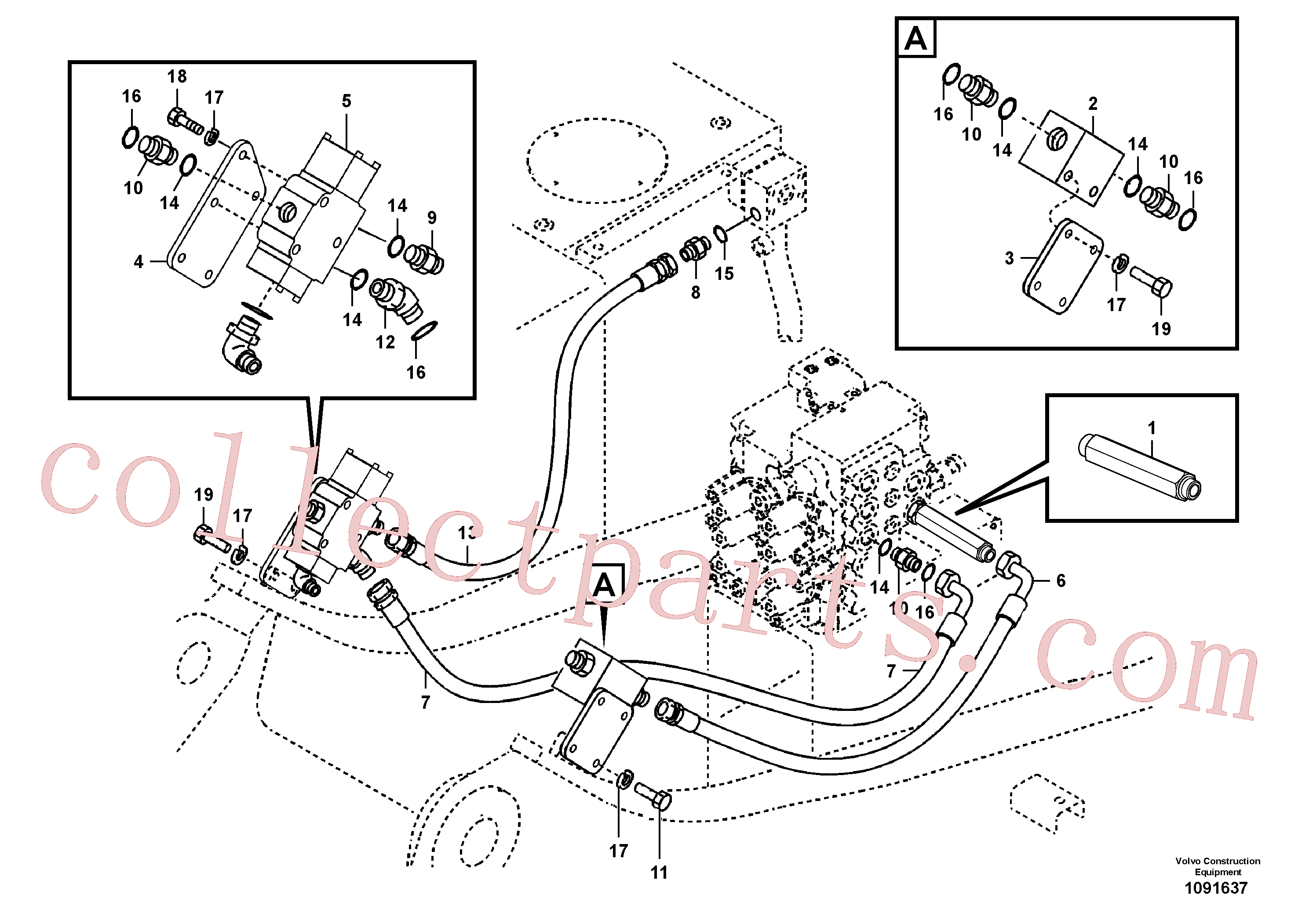 VOE14509900 for Volvo Working hydraulic, hammer and shear for upper(1091637 assembly)