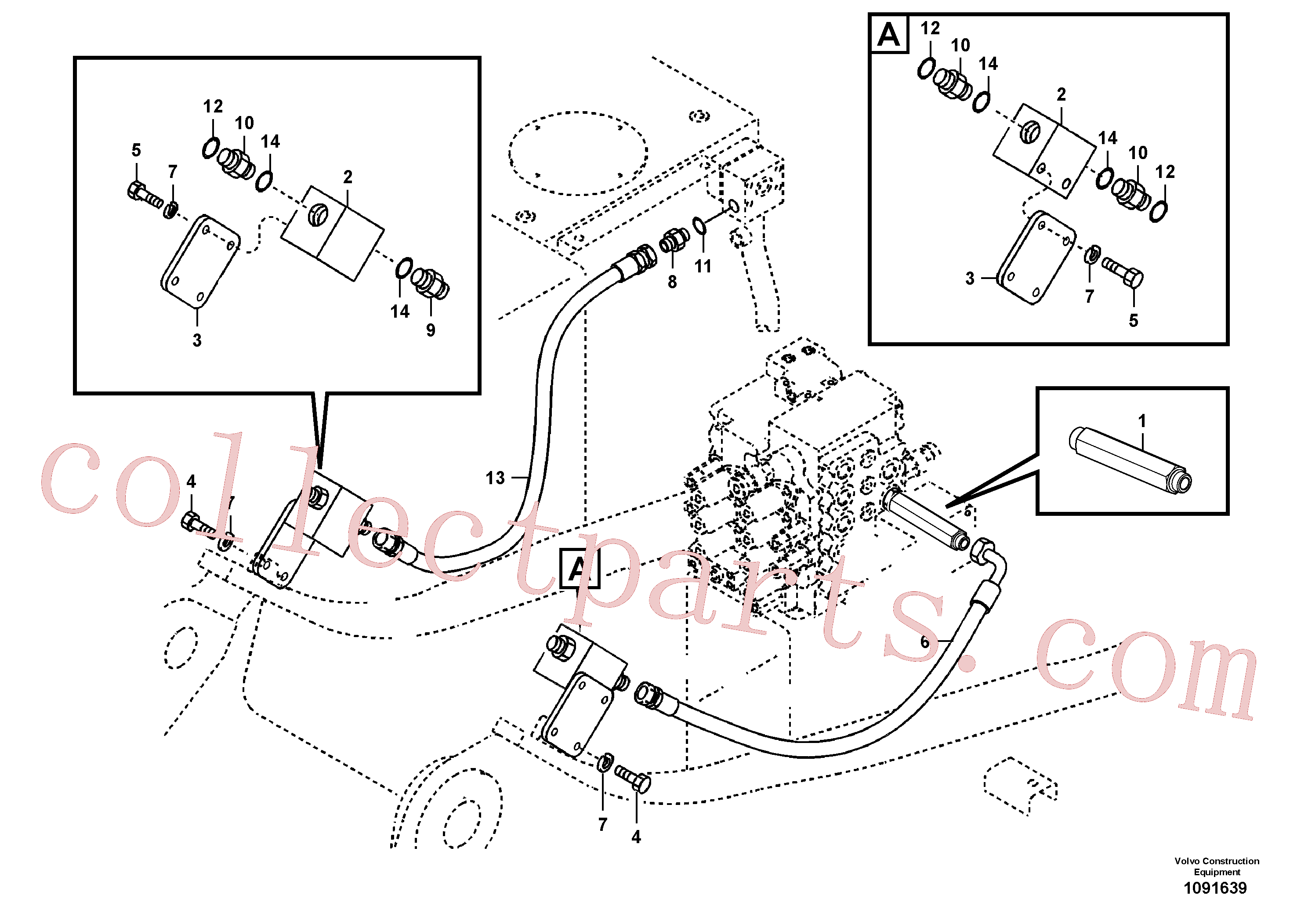 VOE14509900 for Volvo Working hydraulic, hammer and shear for upper(1091639 assembly)