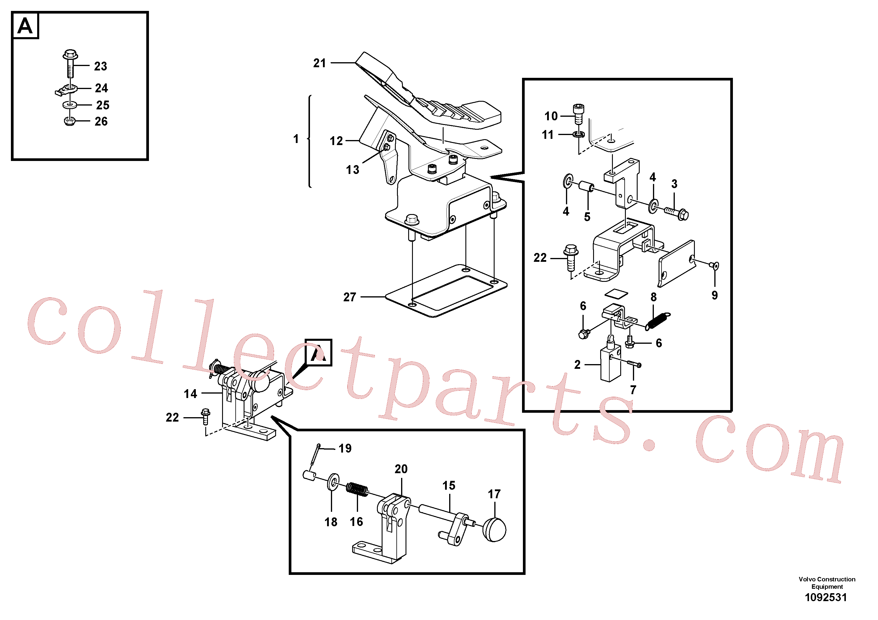 VOE14708679 for Volvo Working hydraulic, remote control valve pedal for hammer and shear(1092531 assembly)