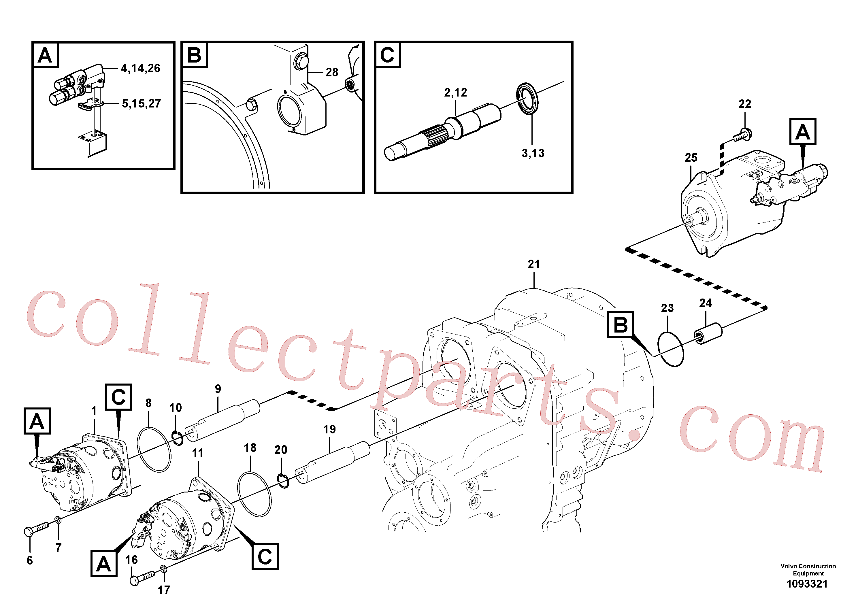 VOE11038380 for Volvo Hydraulic pump with fitting parts(1093321 assembly)