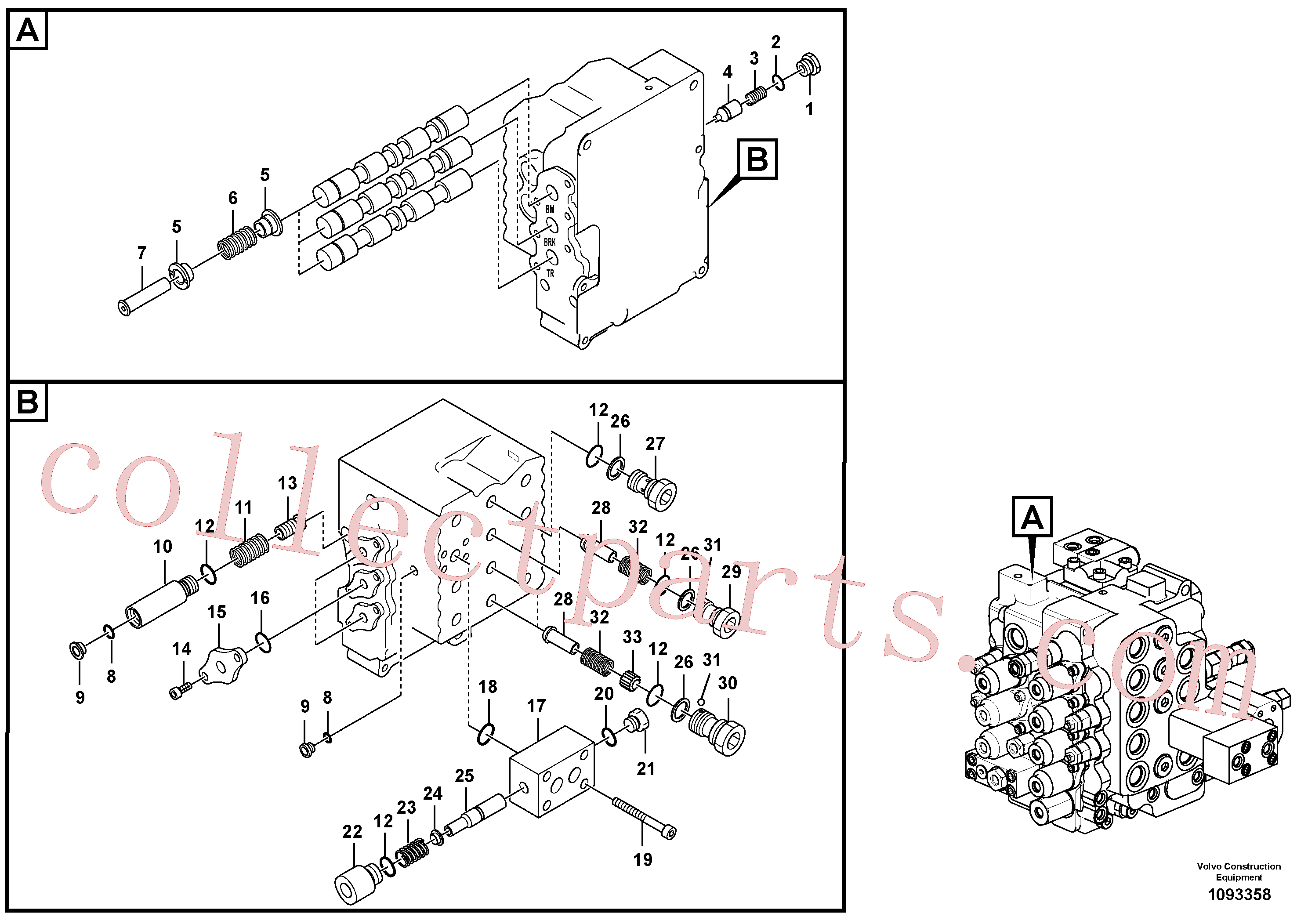 SA8230-32830 for Volvo Main control valve, boom and bucket and travel Rh(1093358 assembly)