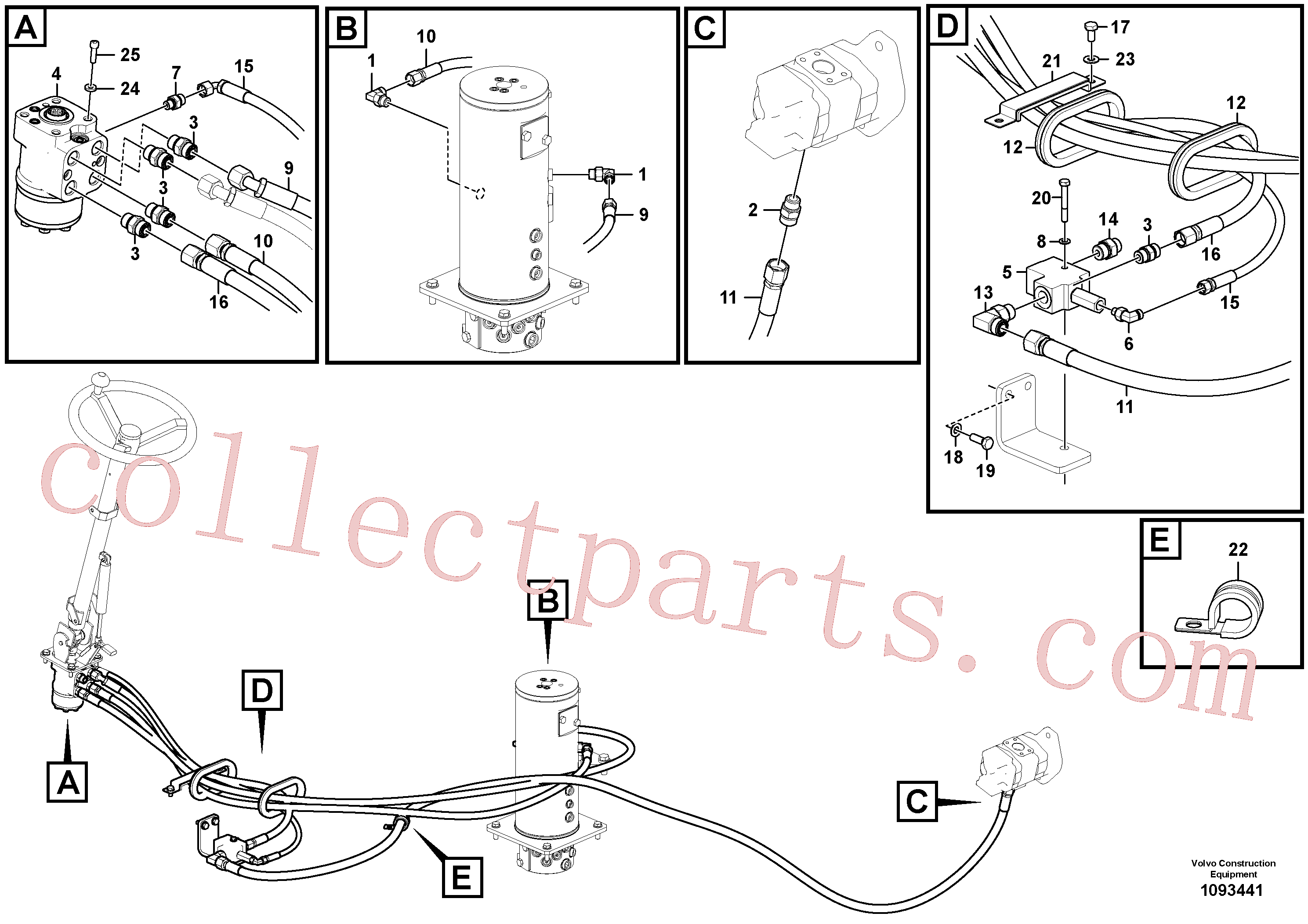 VOE936914 for Volvo Hydraulic system, steering line(1093441 assembly)