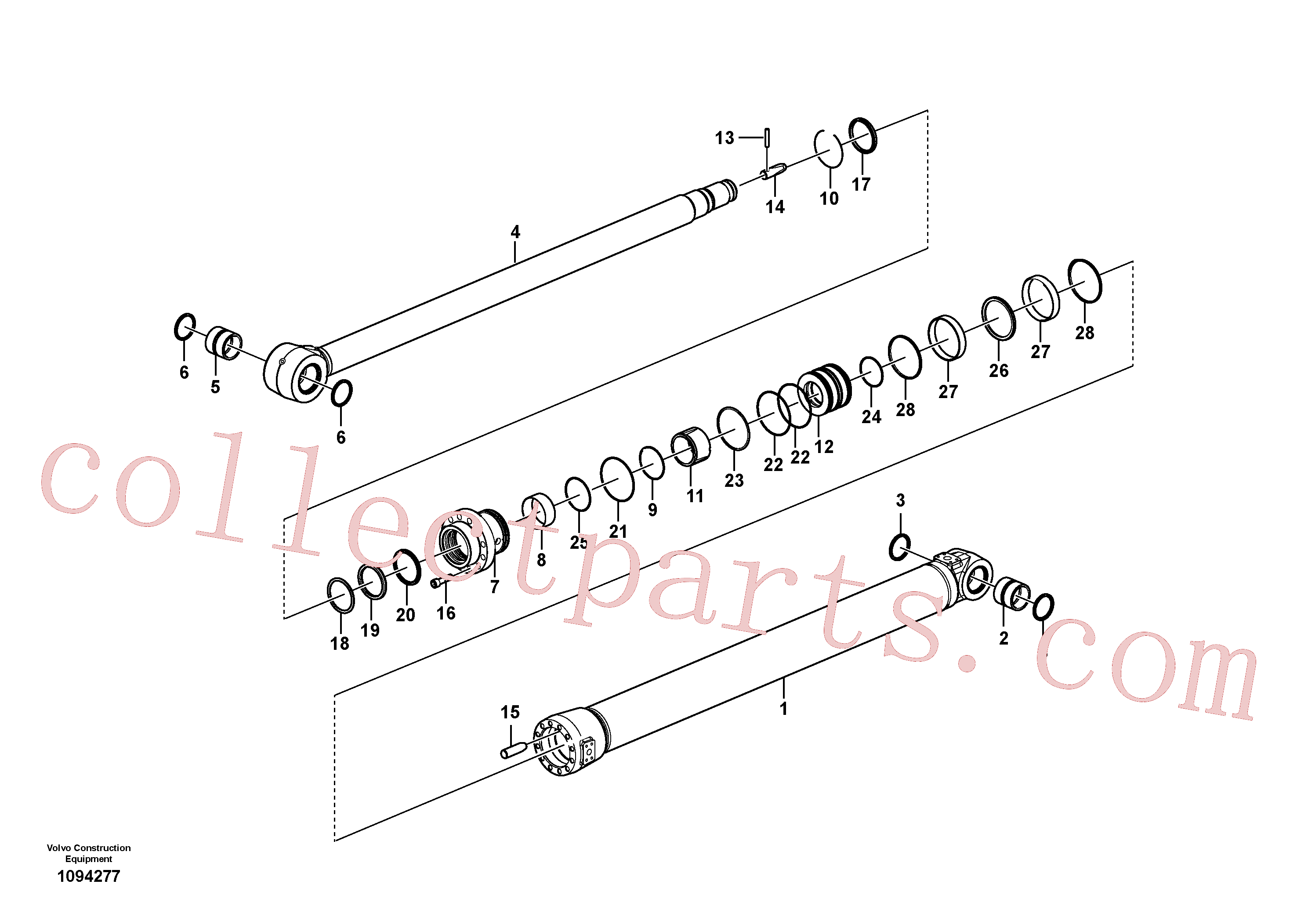 VOE14884926 for Volvo Dipper arm cylinder(1094277 assembly)