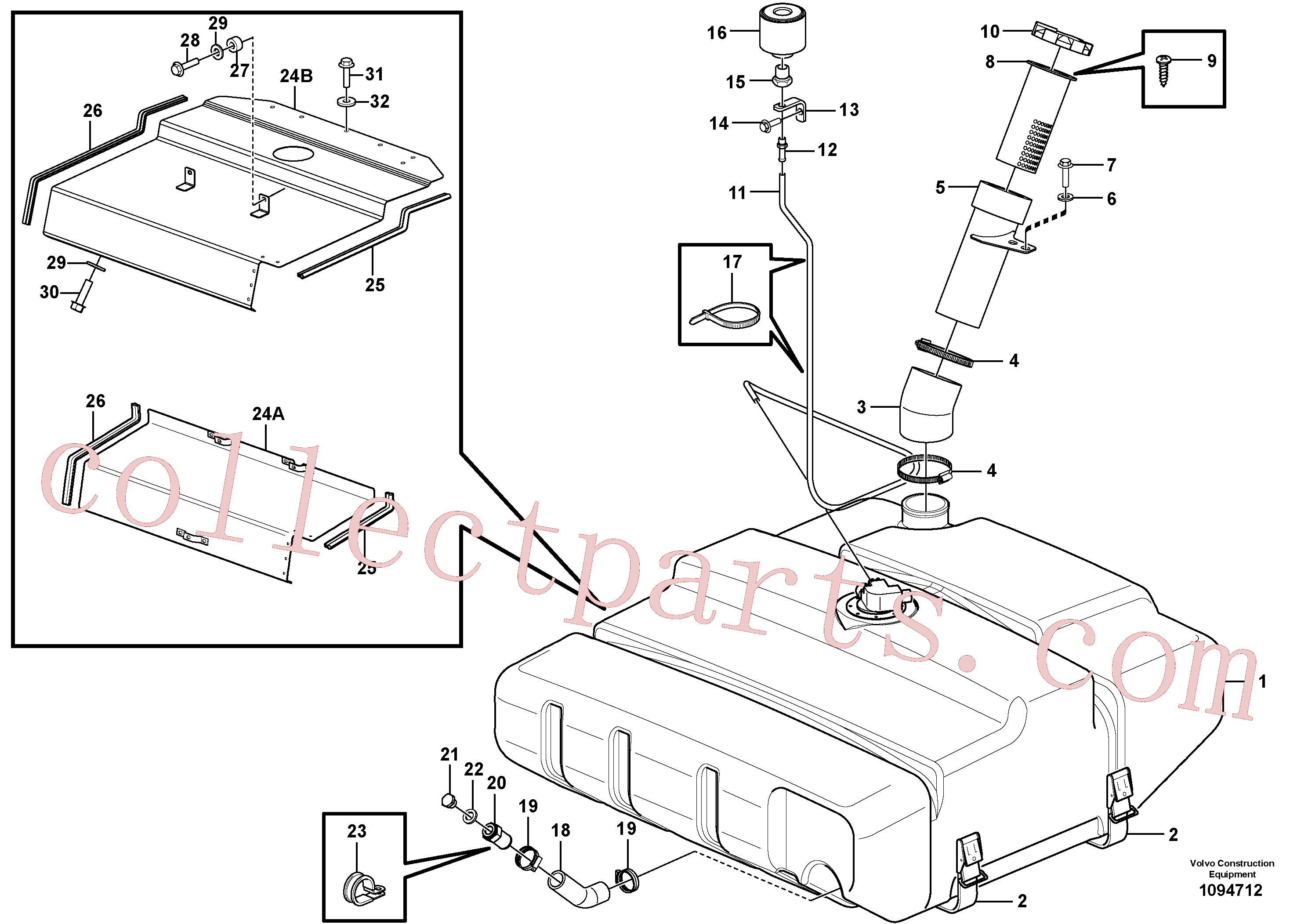 VOE13945444 for Volvo Fuel tank with fitting parts(1094712 assembly)