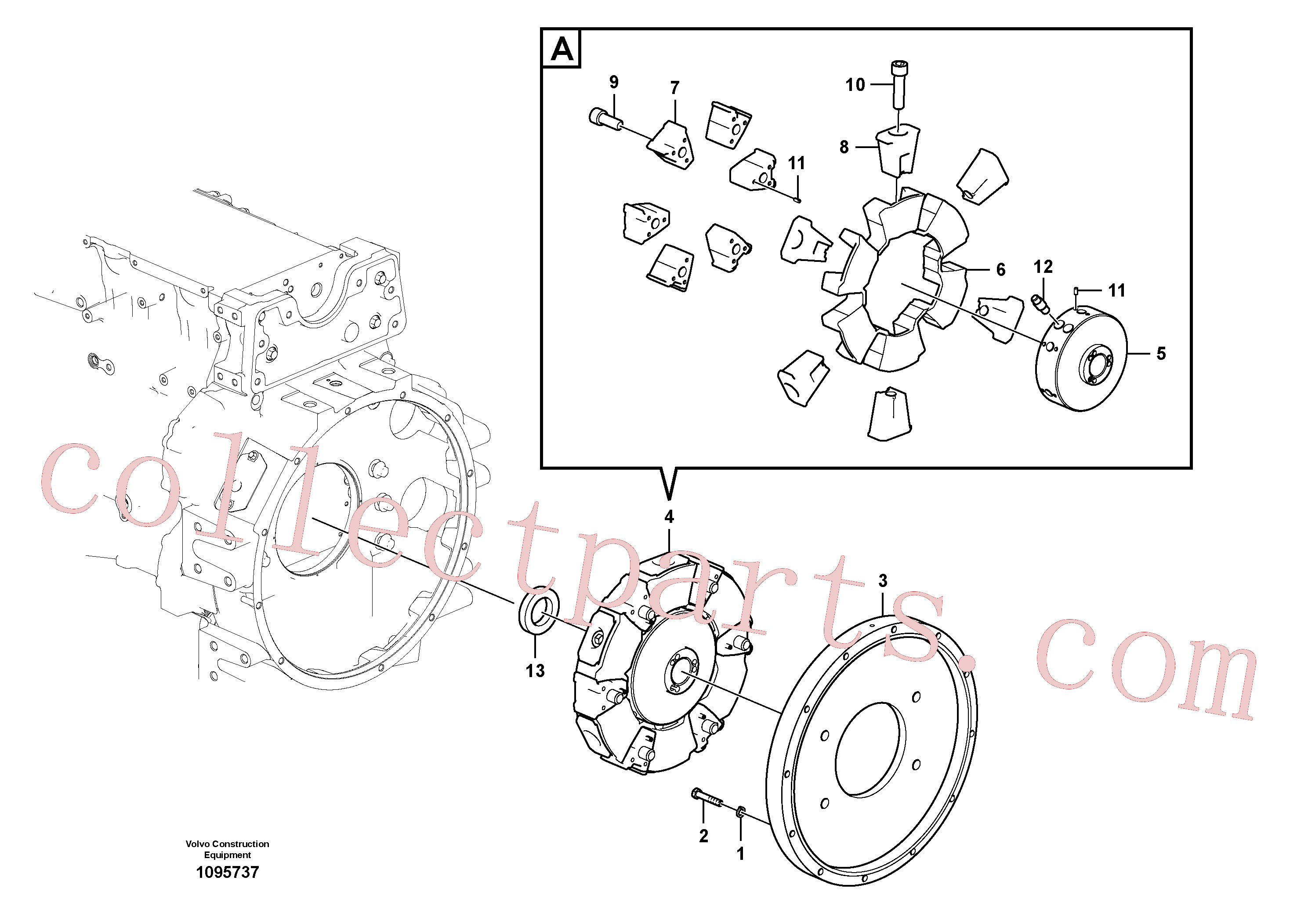 VOE14531162 for Volvo Pump gearbox with assembling parts(1095737 assembly)