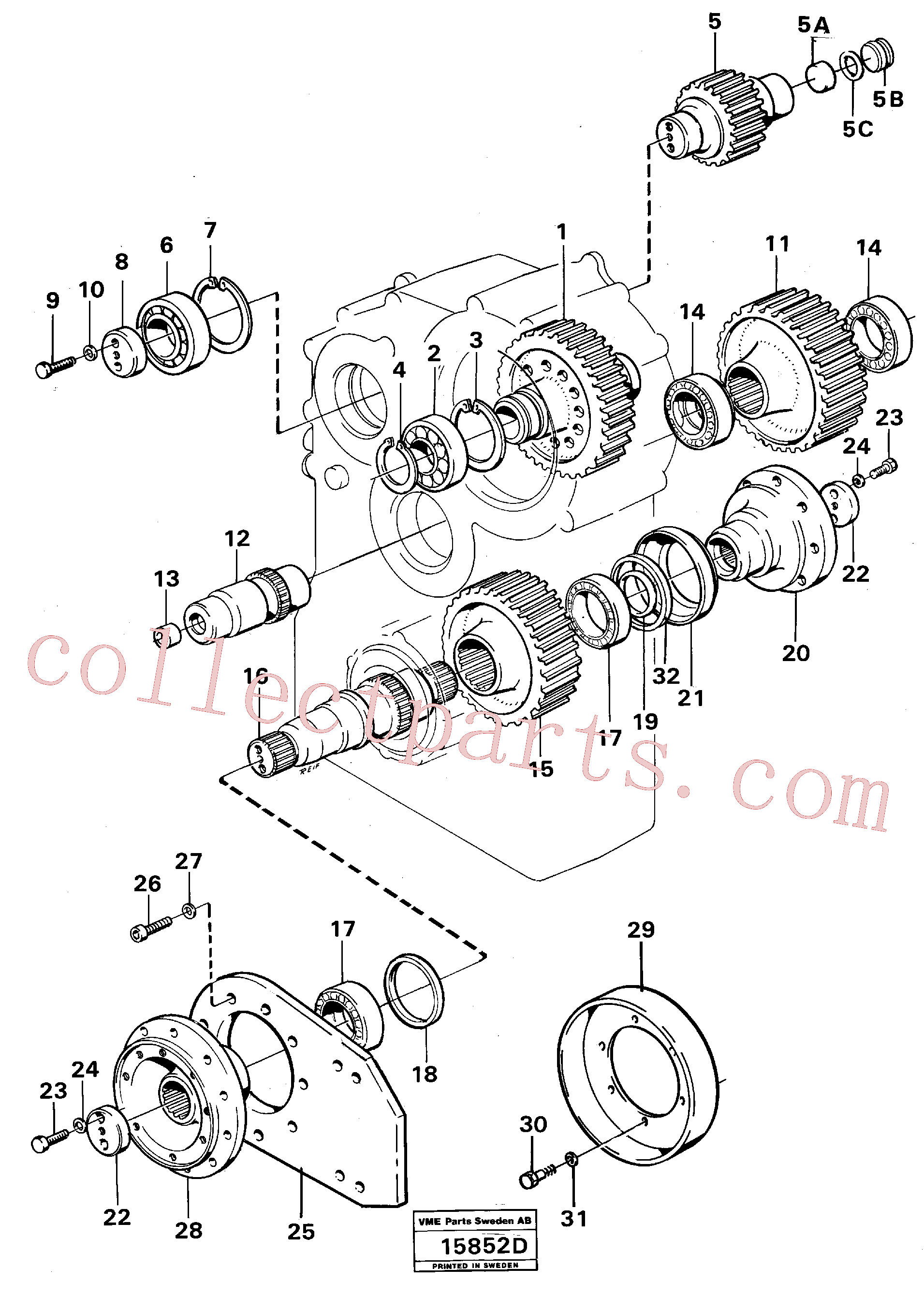 VOE914550 for Volvo Transfer gearbox gears and shafts(15852D assembly)