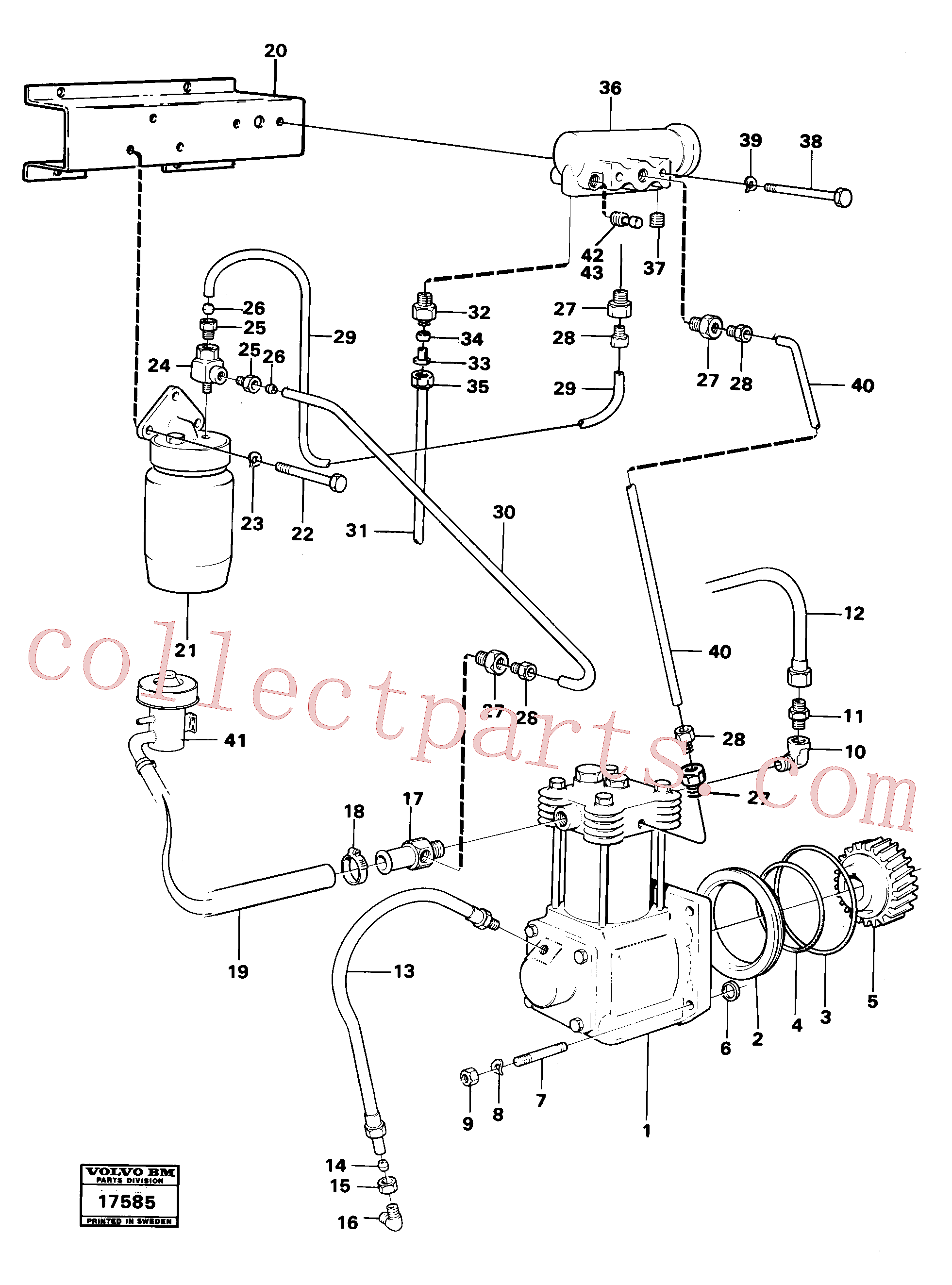 VOE192358 for Volvo Air-compressor with fitting parts(17585 assembly)