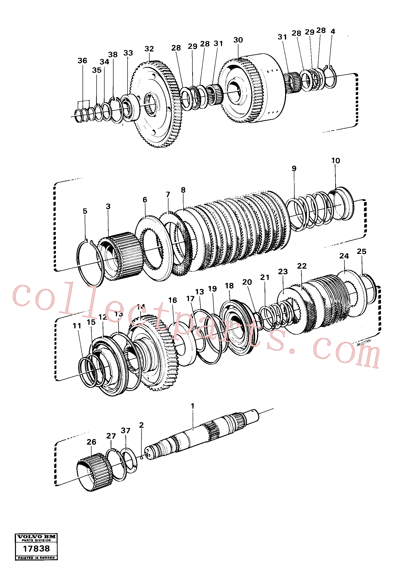 VOE4871692 for Volvo Clutches reverse/2nd speeds, Hydraulic clutch reverse / 2nd speeds.(17838 assembly)