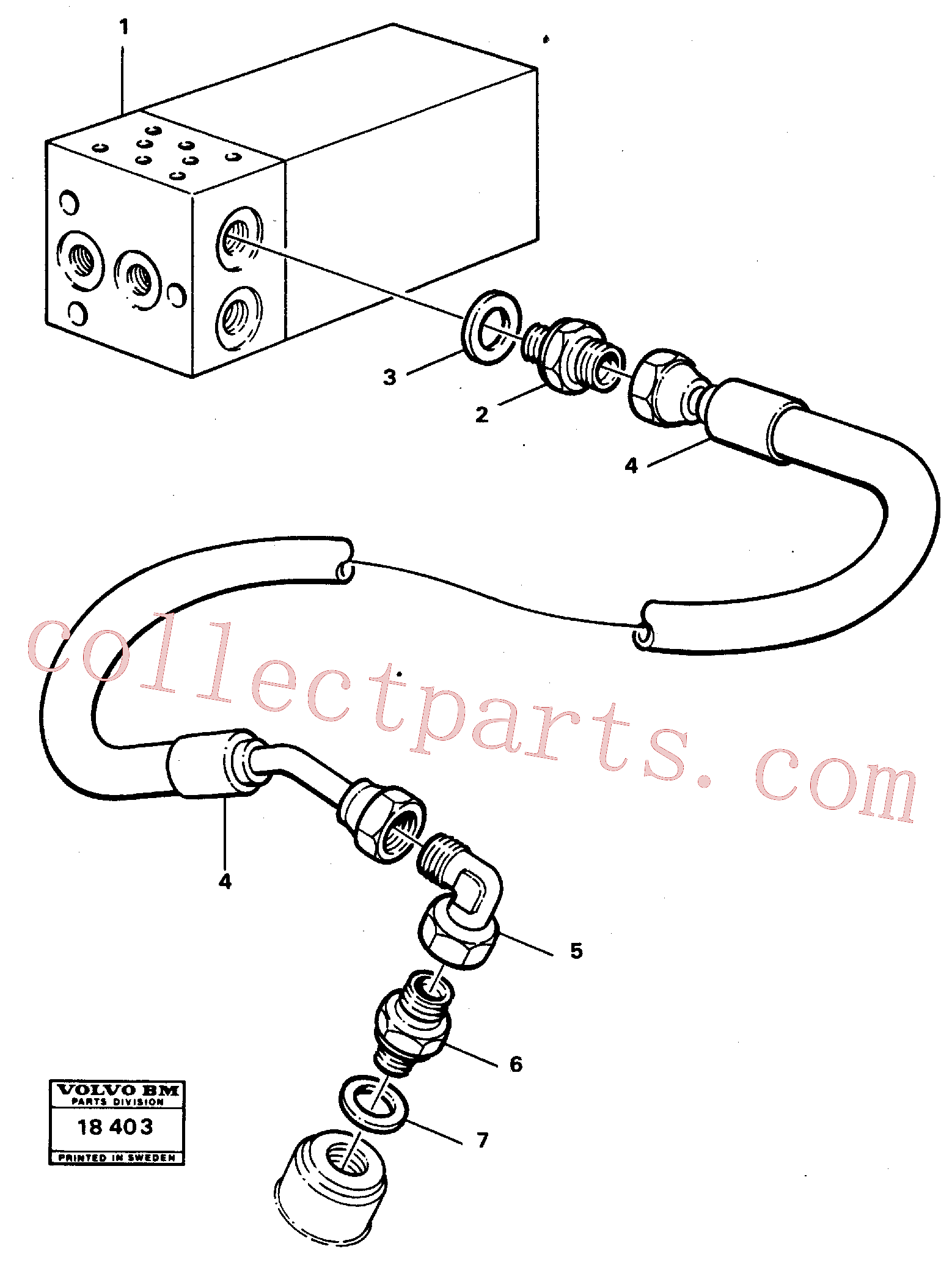 VOE13932892 for Volvo Differential lock, pipes., Hydraulic system(18403 assembly)