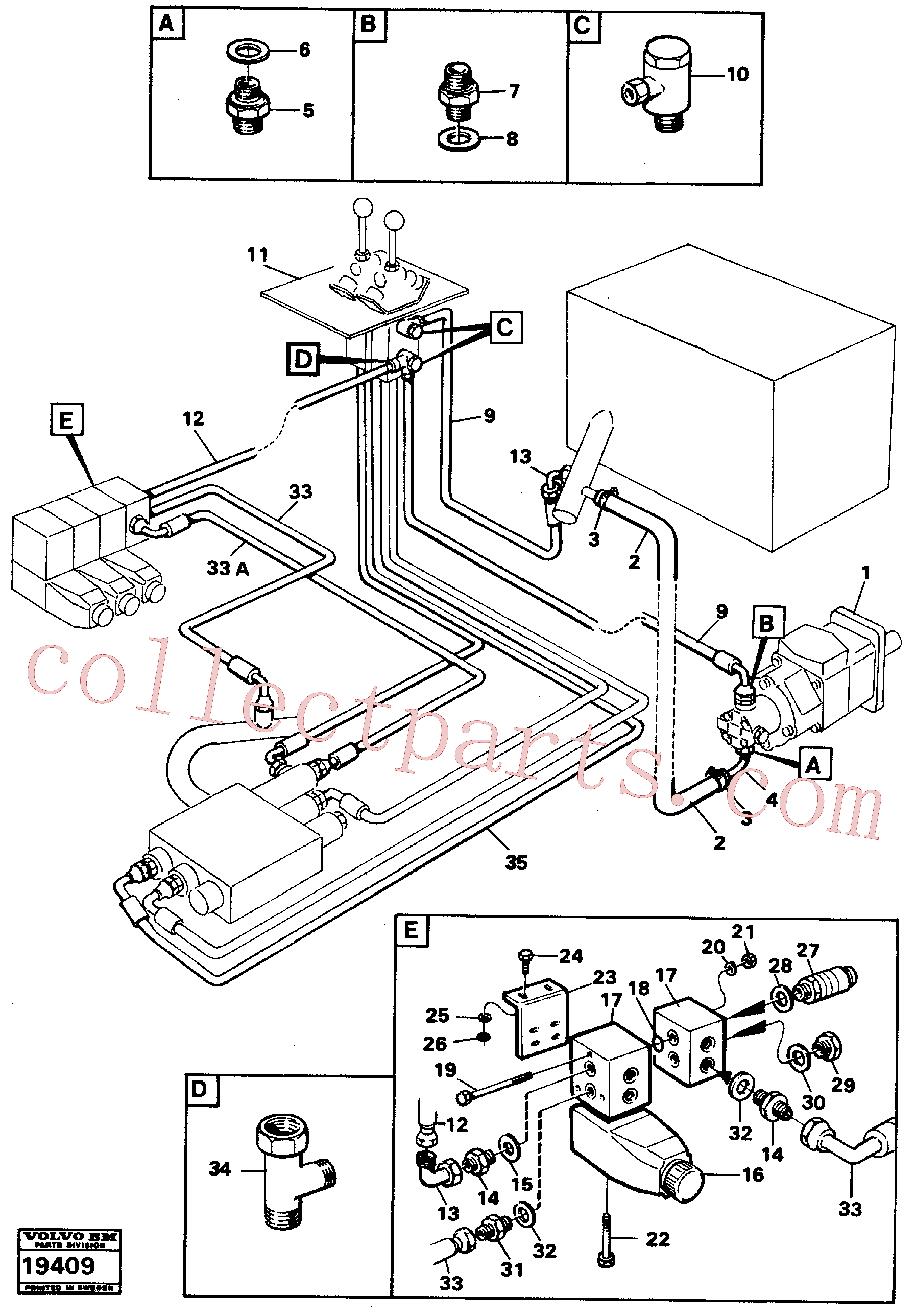 VOE960168 for Volvo Servo System: feed lines.(19409 assembly)