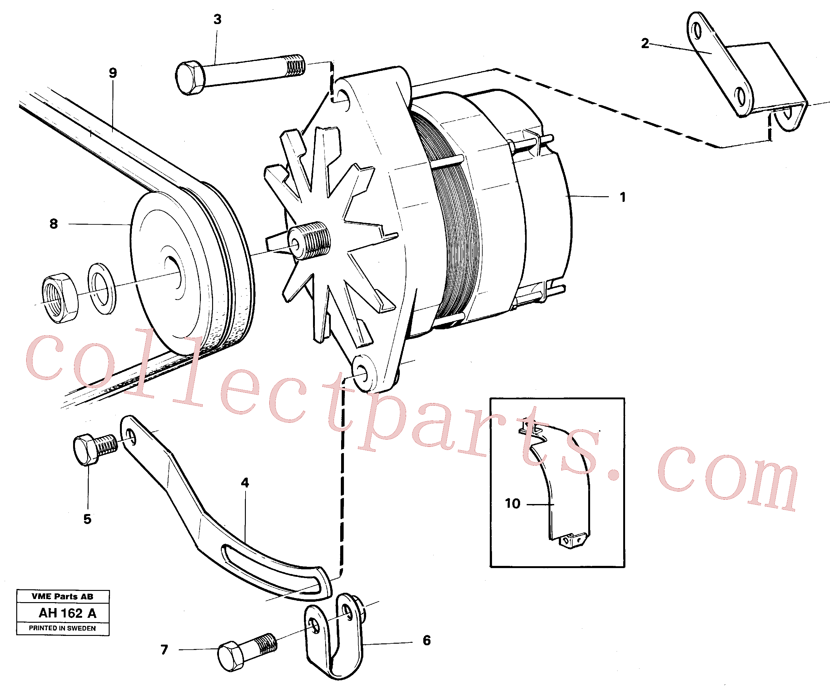VOE466735 for Volvo Alternator with assembling details(AH162A assembly)