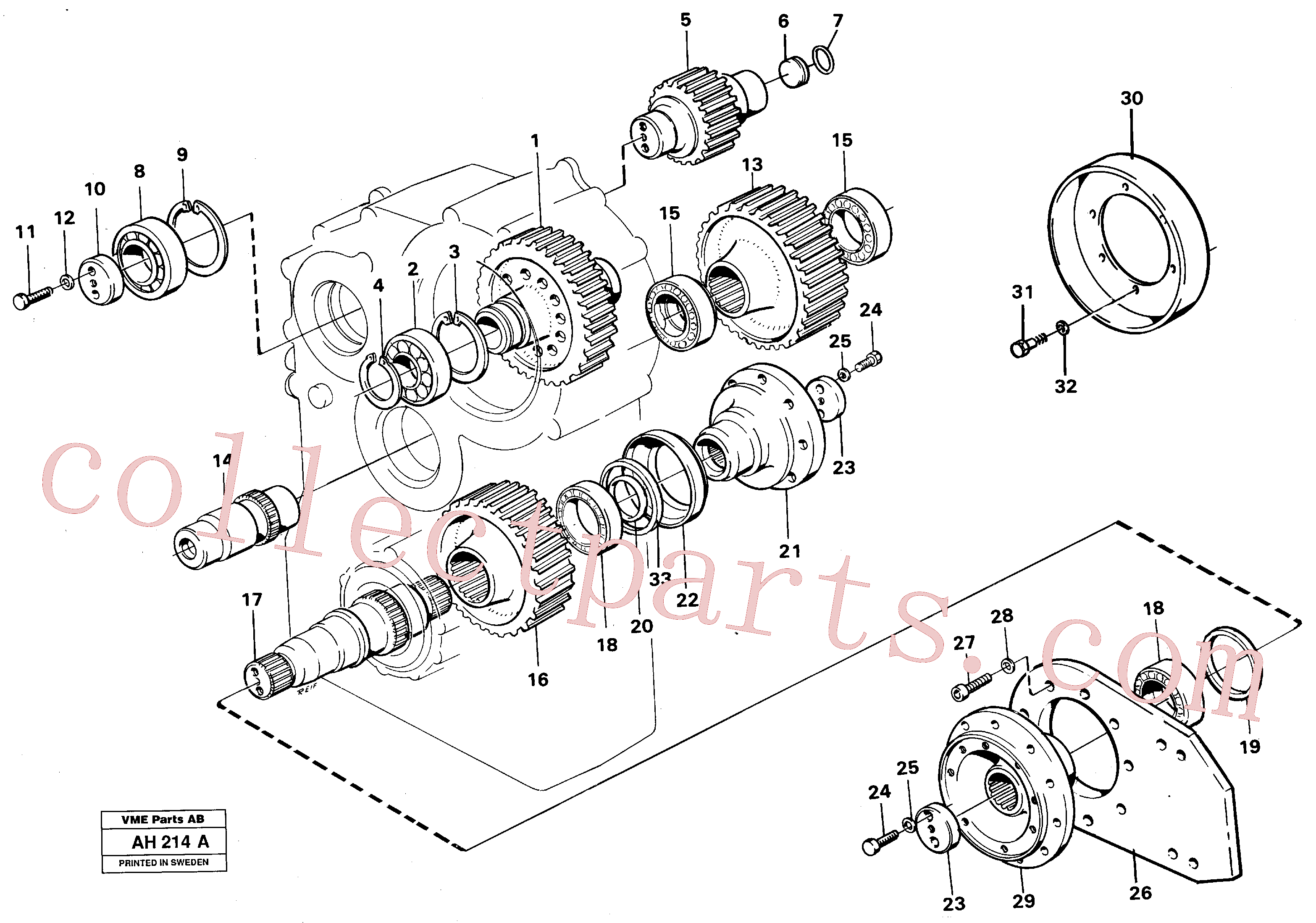 VOE914550 for Volvo Transfer gearbox gears and shafts(AH214A assembly)