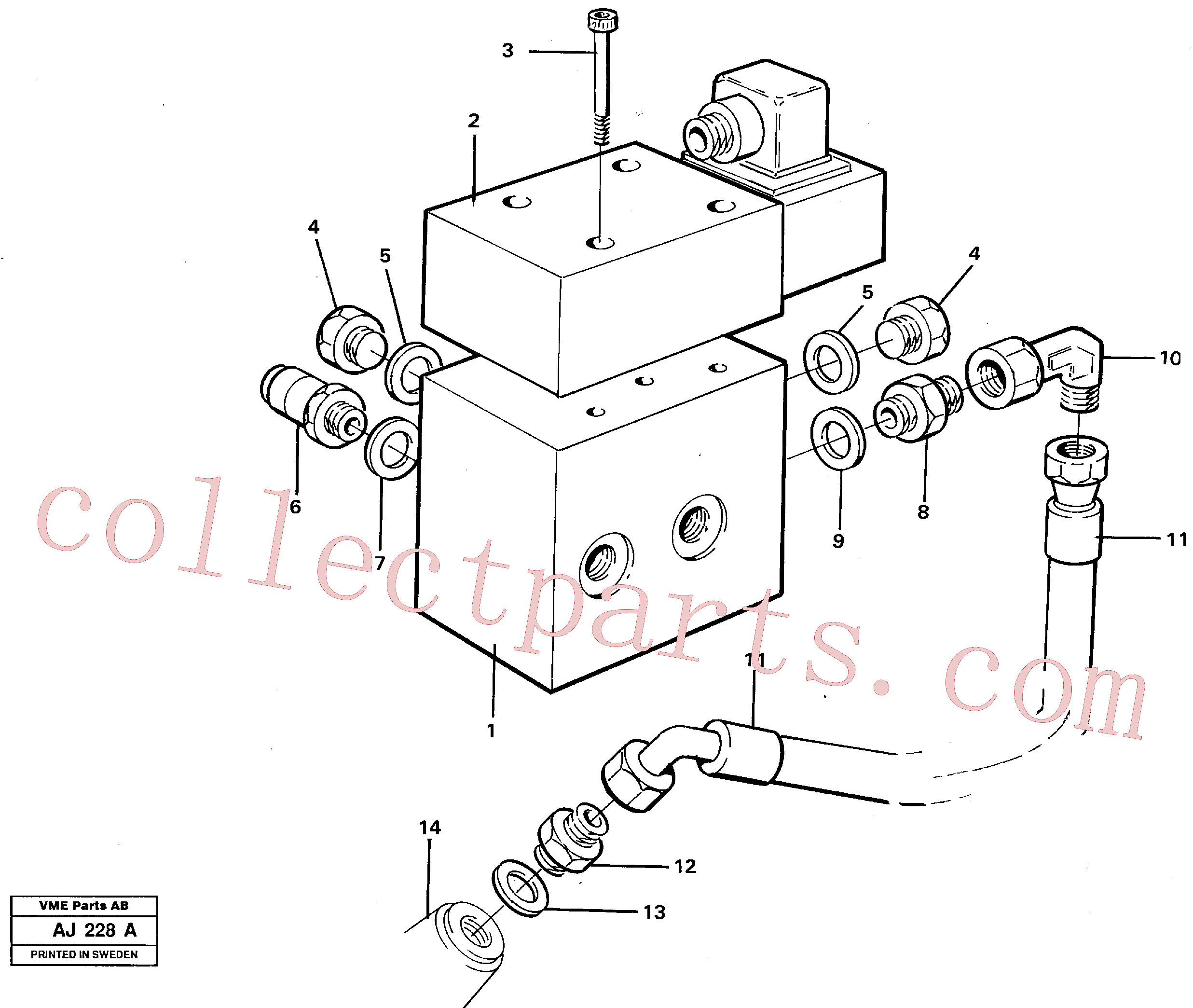 VOE13932892 for Volvo Differential lock hydraulic line(AJ228A assembly)
