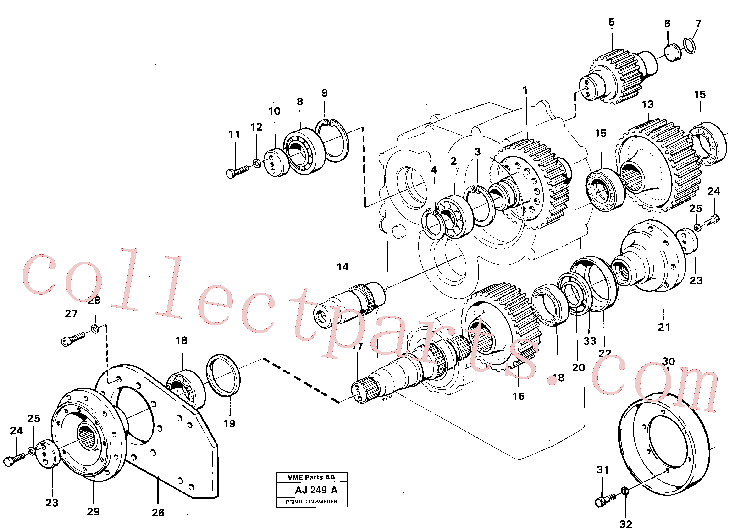 VOE914550 for Volvo Transfer gearbox gears and shafts(AJ249A assembly)