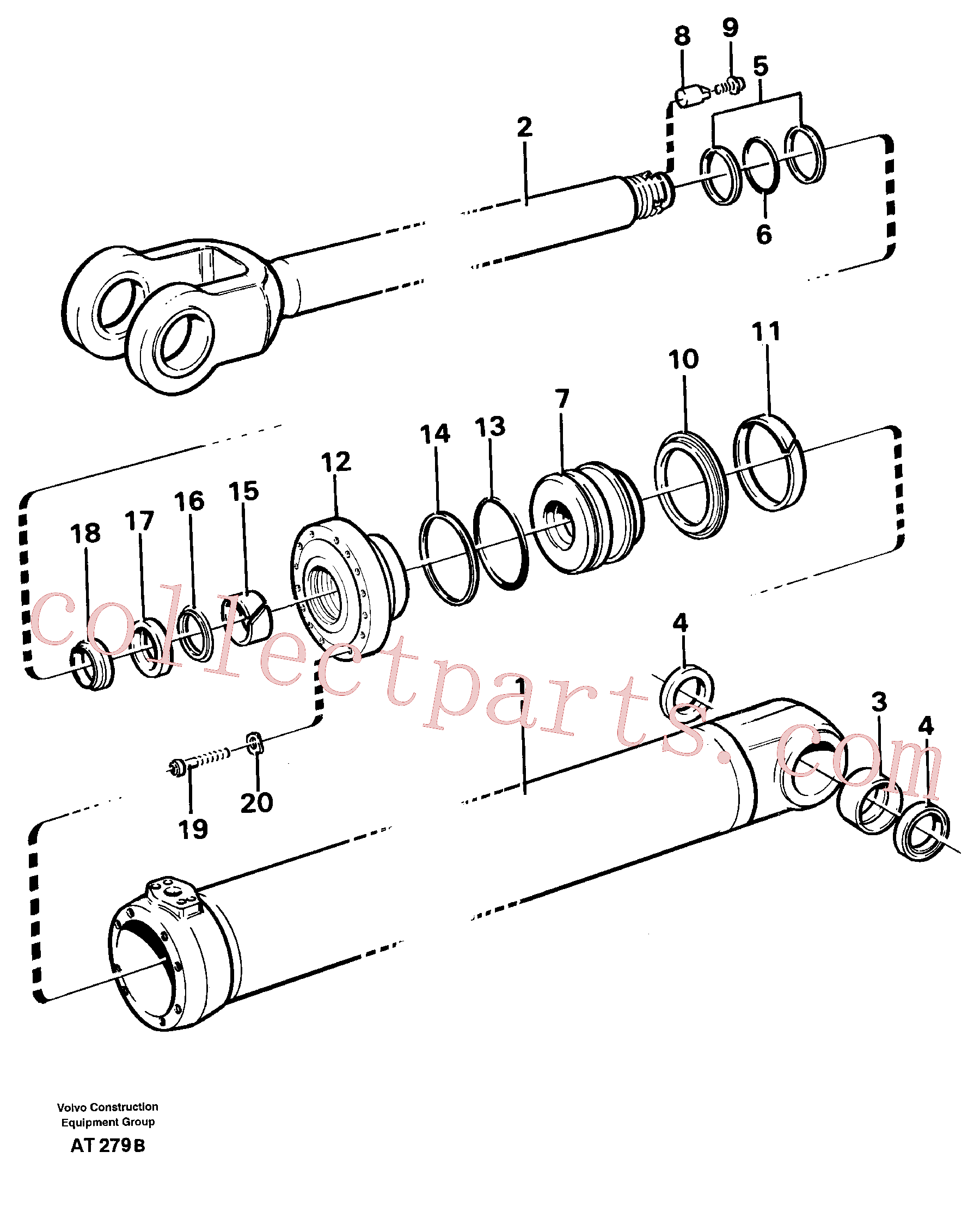 VOE2552116 for Volvo Hydraulic cylinder, Lifting(AT279B assembly)