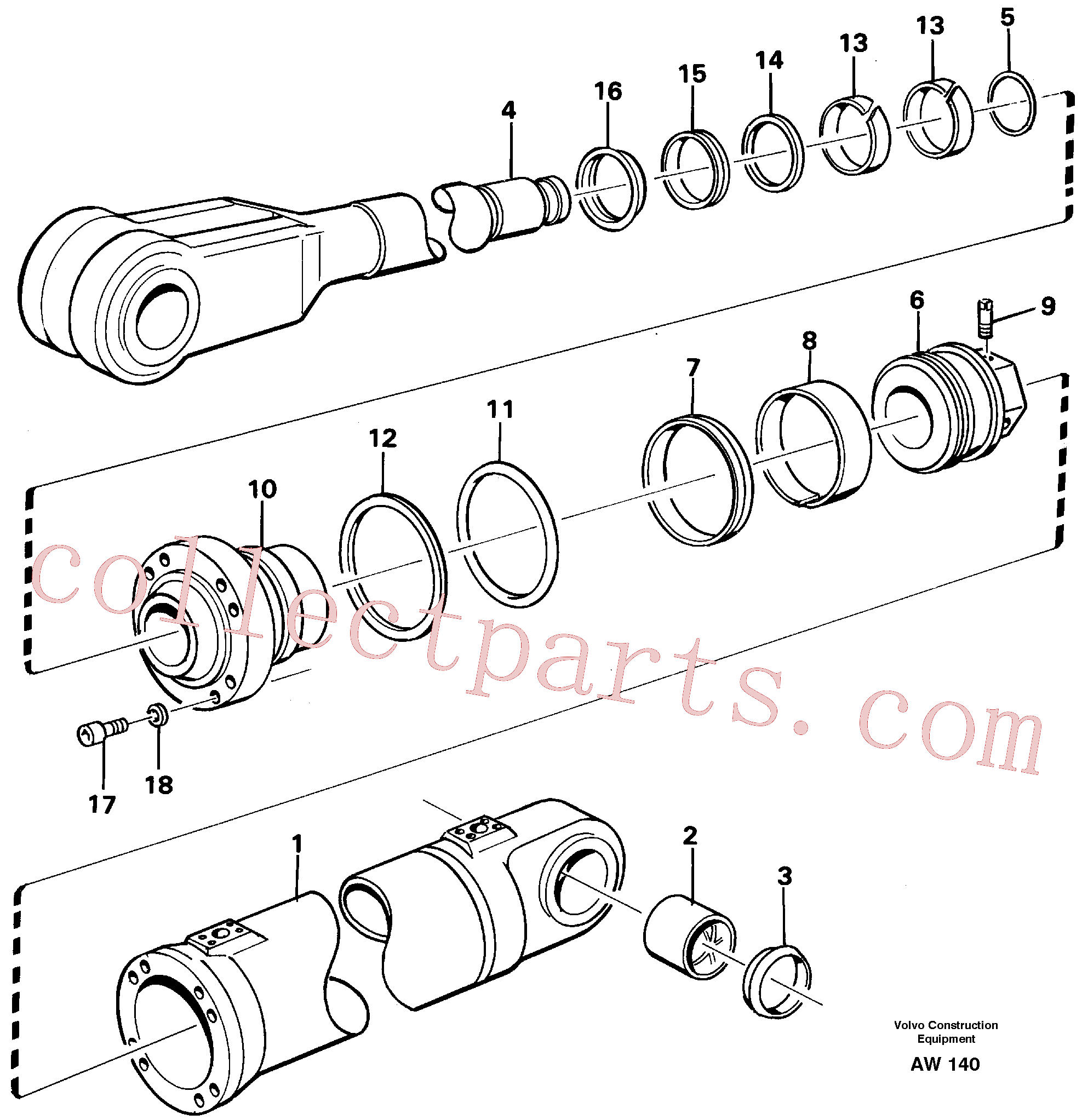 VOE11005107 for Volvo Hydraulic cylinder, lifting.(AW140 assembly)