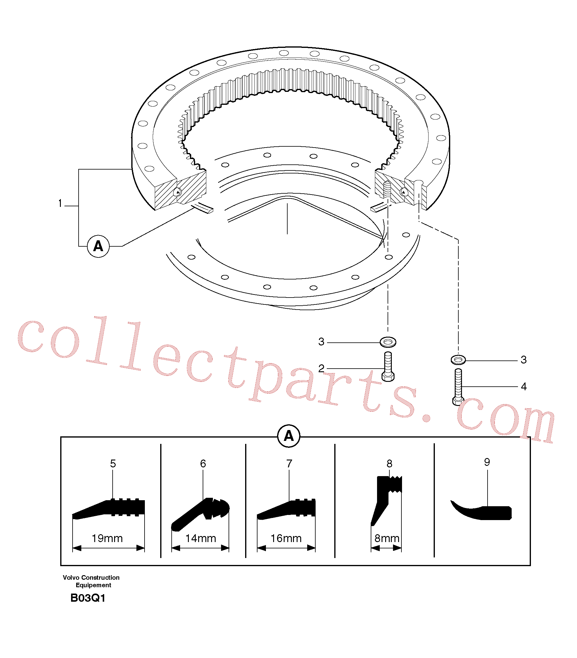 PJ7411004 for Volvo Slewing ring(B03Q1 assembly)